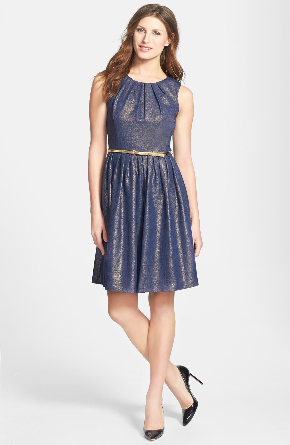 Alternate Image 2  - Ellen Tracy Metallic Sleeveless Dress (Regular & Petite)