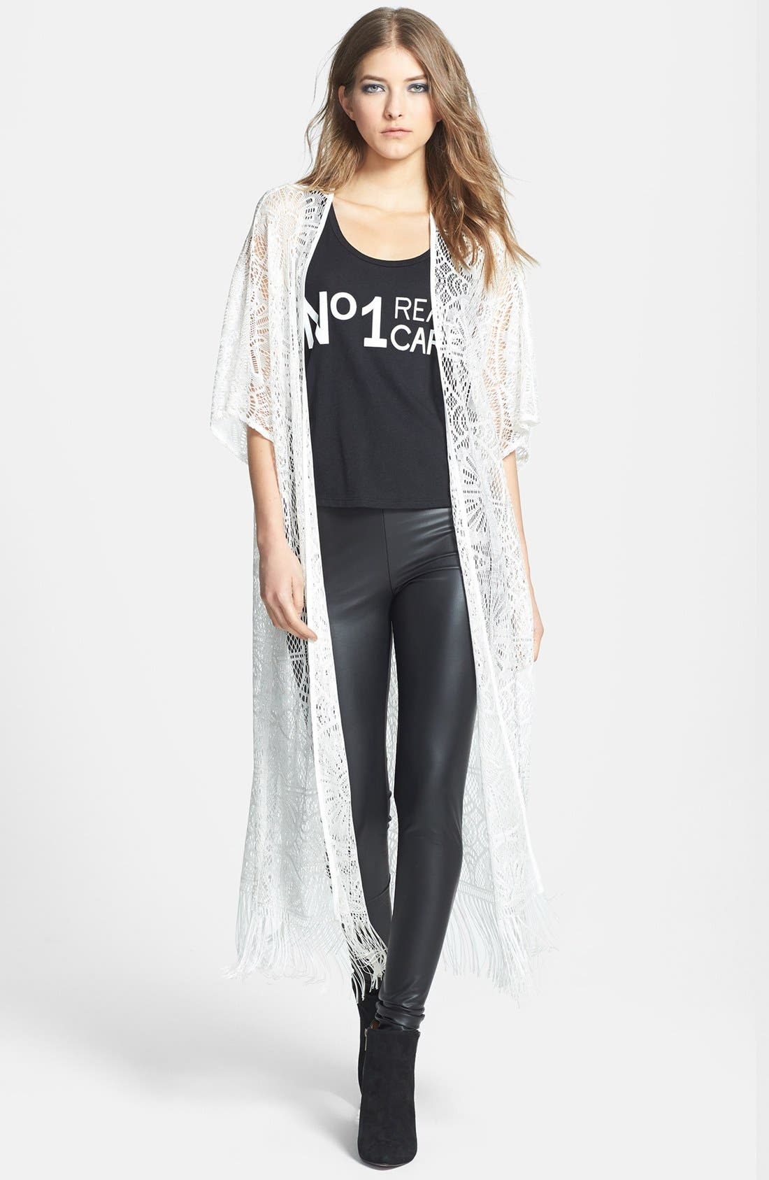 Main Image - Wayf Long Lace Cardigan