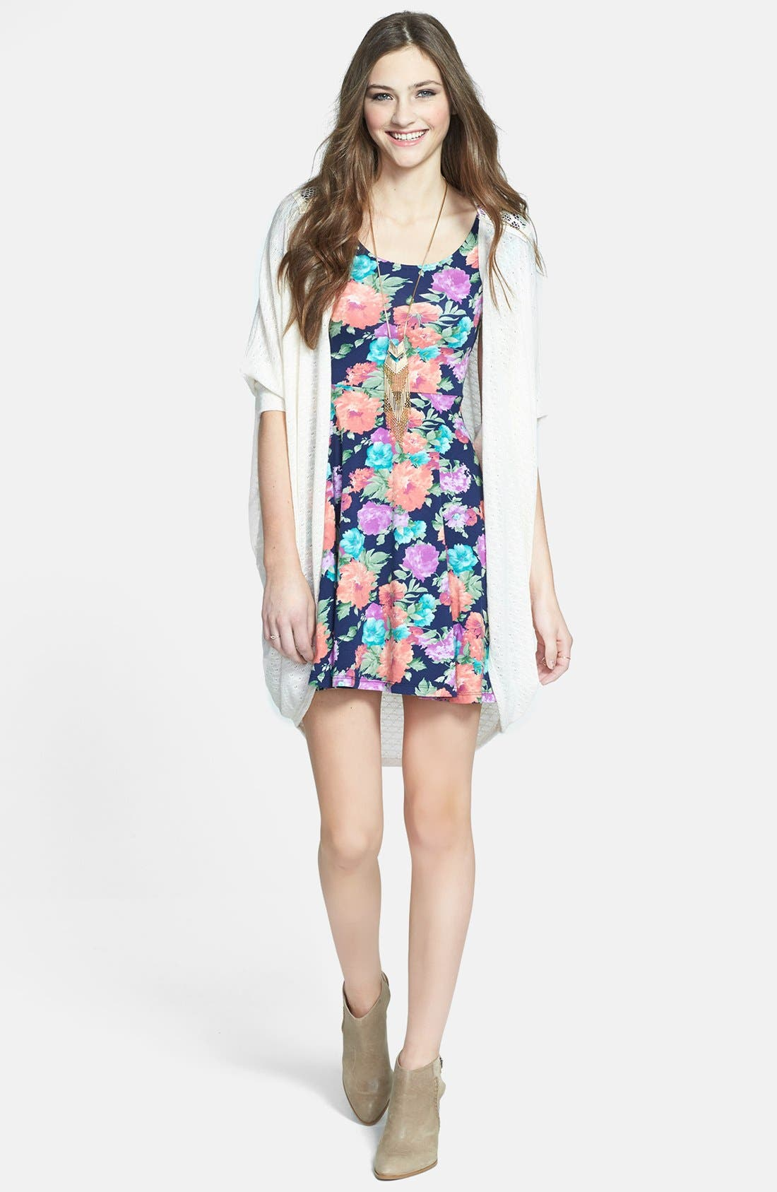 Alternate Image 2  - Soprano 'Chloe' Scoop Neck Skater Dress (Juniors)