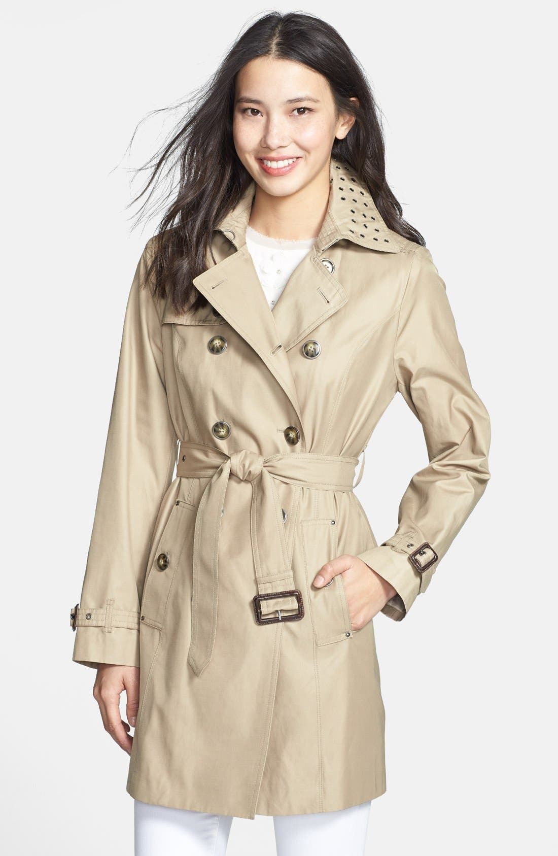 Alternate Image 1 Selected - London Fog Grommet Trim Double-Breasted Trench Coat