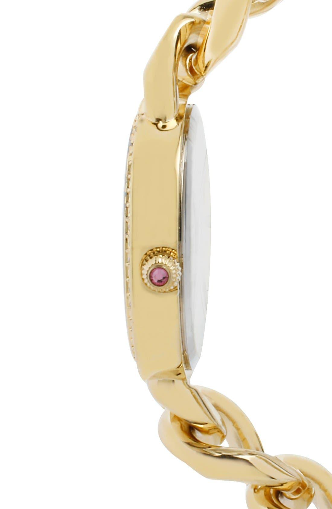 Alternate Image 3  - Betsey Johnson Crystal Bezel Chain Link Bracelet Watch, 34mm