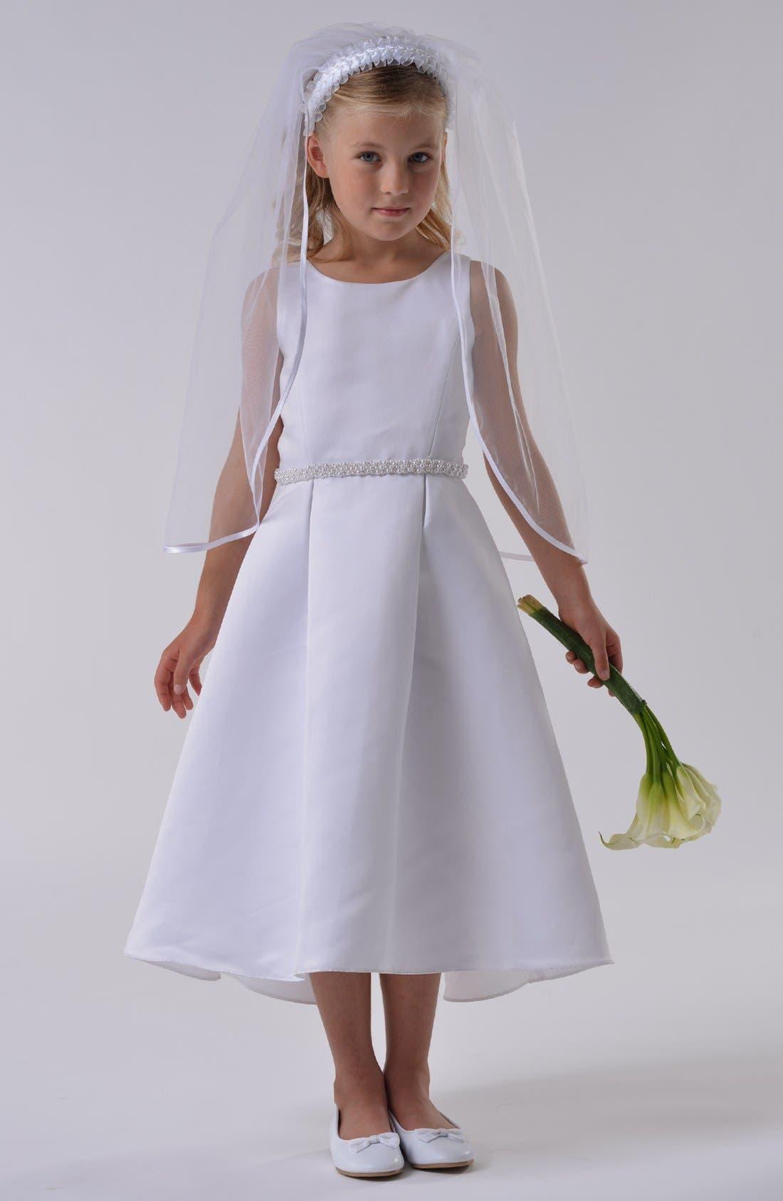 Alternate Image 2  - Us Angels Satin Dress (Little Girls & Big Girls)