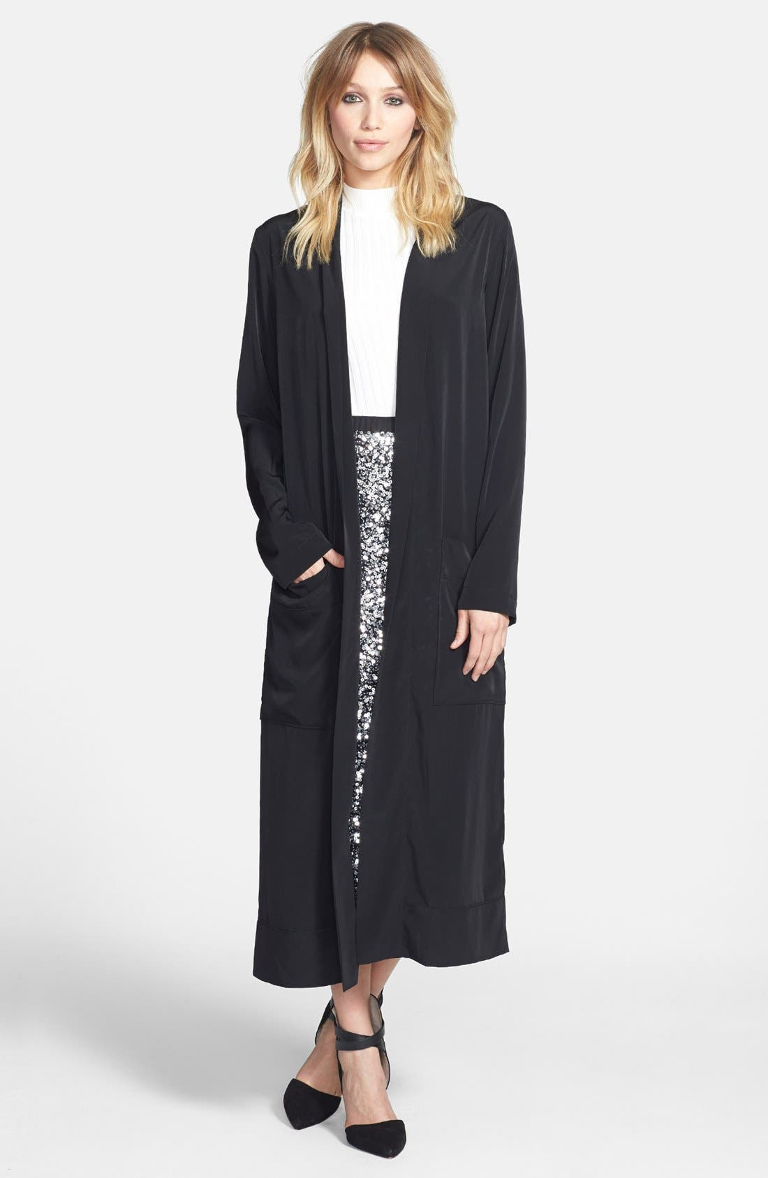 Alternate Image 1 Selected - Leith Long Woven Cardigan
