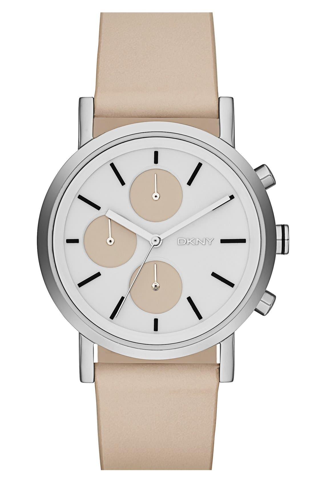 Main Image - DKNY 'Soho' Round Leather Strap Watch, 38mm