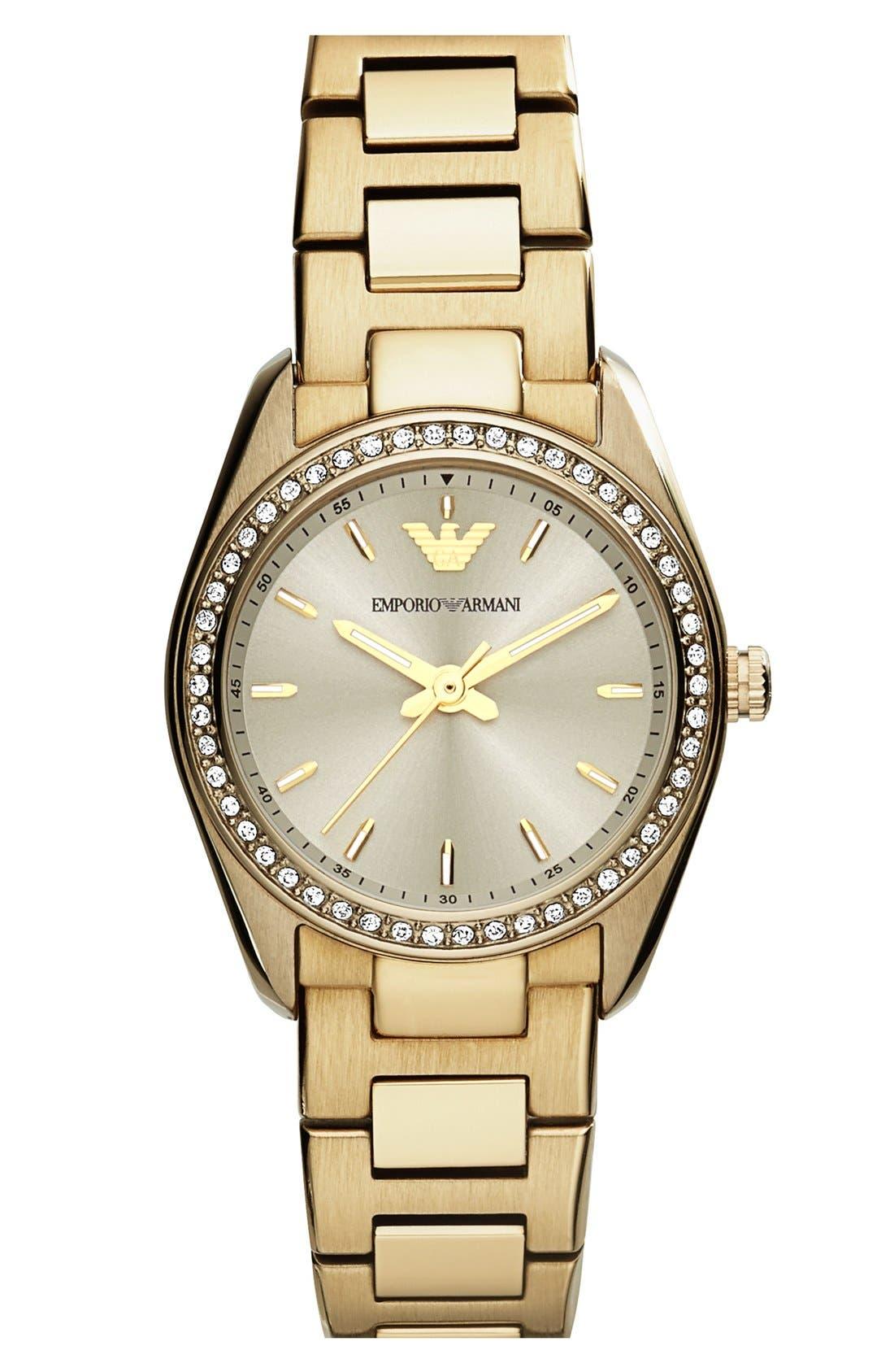 Main Image - Emporio Armani Crystal Bezel Bracelet Watch, 26mm