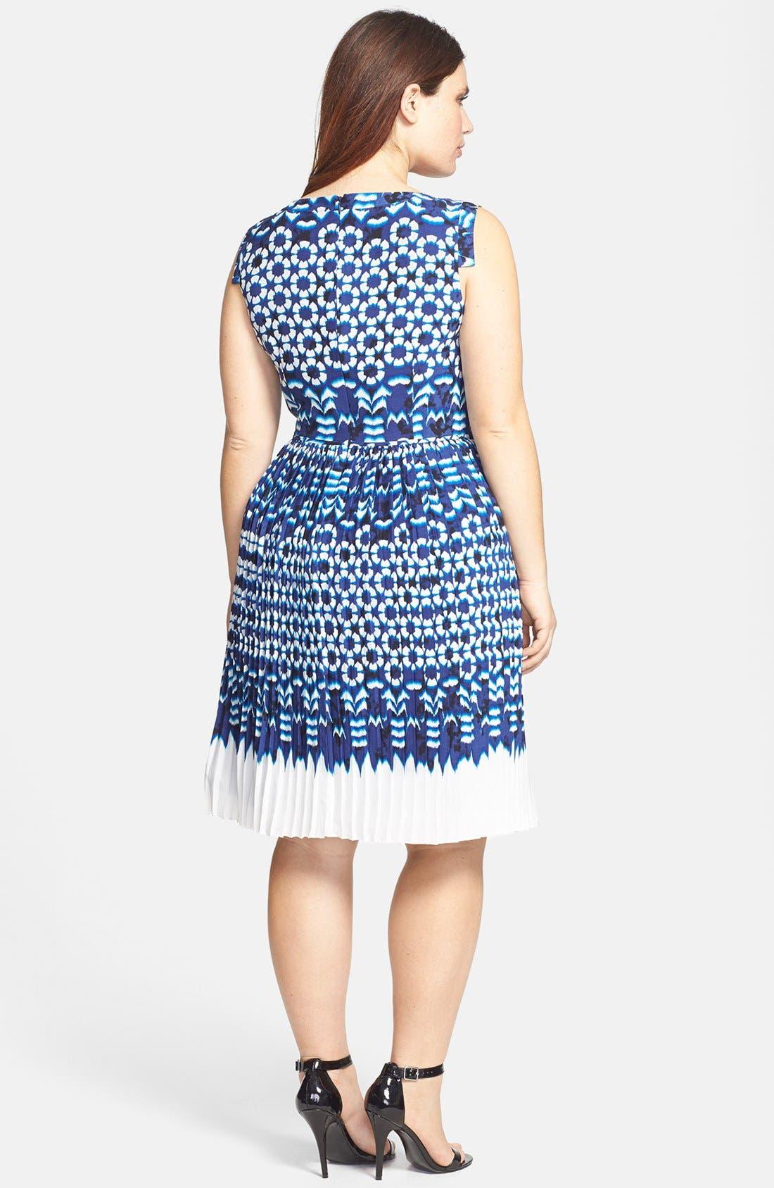 Alternate Image 2  - Adrianna Papell Ikat Print Pleat Fit & Flare Dress (Plus Size)