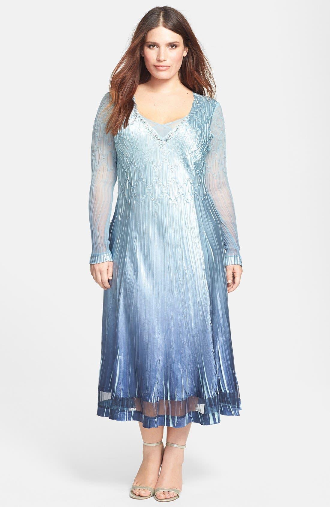 Main Image - Komarov Chiffon & Charmeuse Embellished Dress (Plus Size)