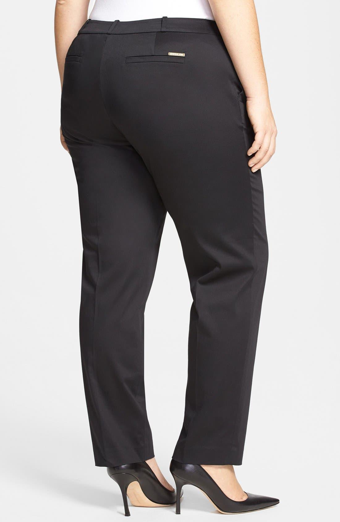 Alternate Image 2  - MICHAEL Michael Kors 'Welles' Stretch Cotton Sateen Ankle Pants (Plus Size)