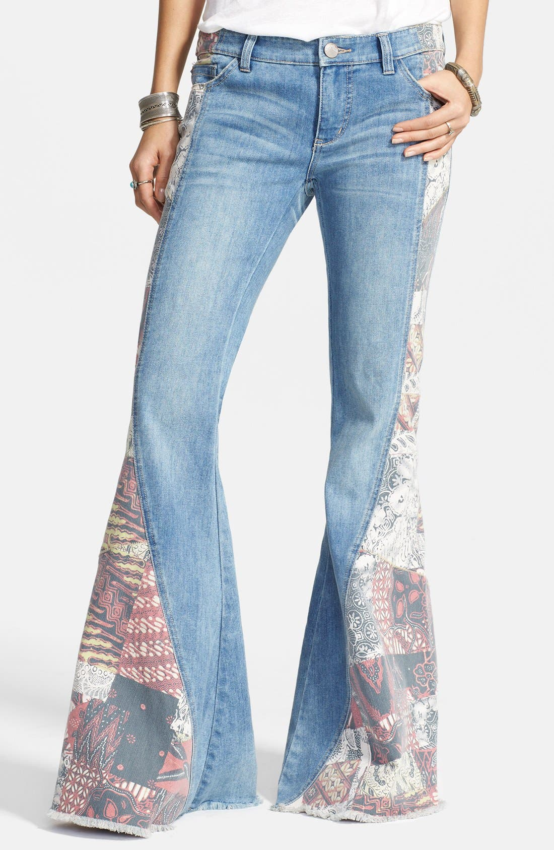 Alternate Image 1 Selected - Free People 'Bali' Patchwork Flare Leg Jeans (Indigo Combo)