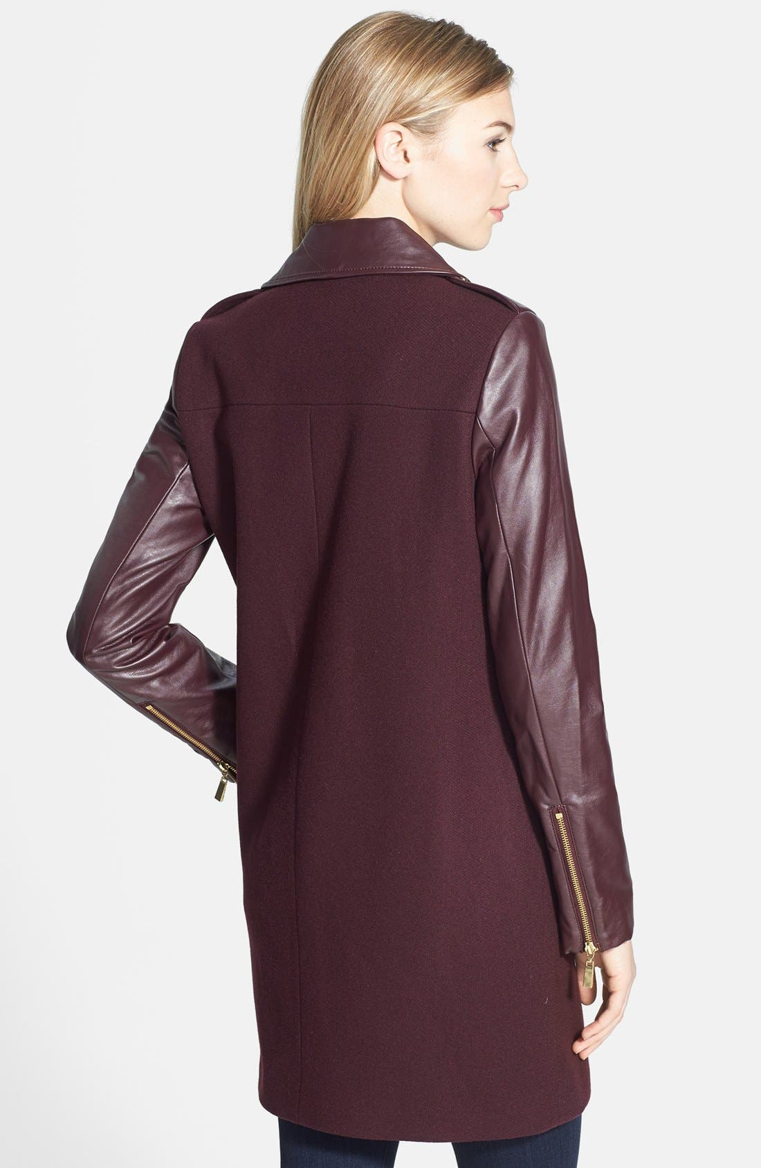 Alternate Image 2  - Vince Camuto Asymmetrical Zip Wool Blend & Faux Leather Coat