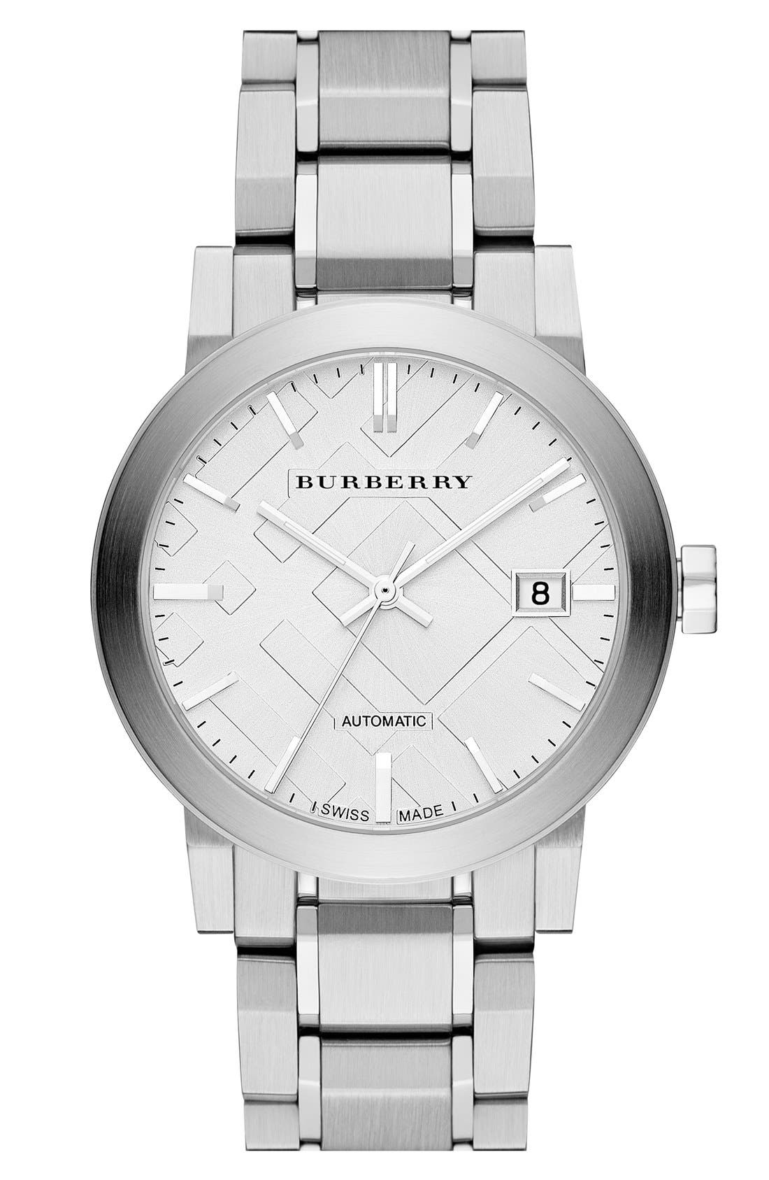 Alternate Image 1 Selected - Burberry Check Stamped Automatic Bracelet Watch, 38mm