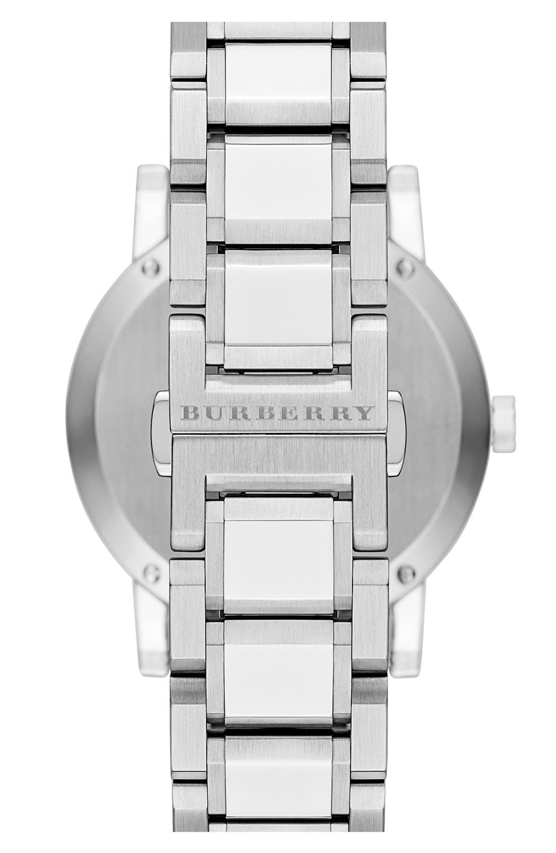 Alternate Image 3  - Burberry Check Stamped Automatic Bracelet Watch, 38mm