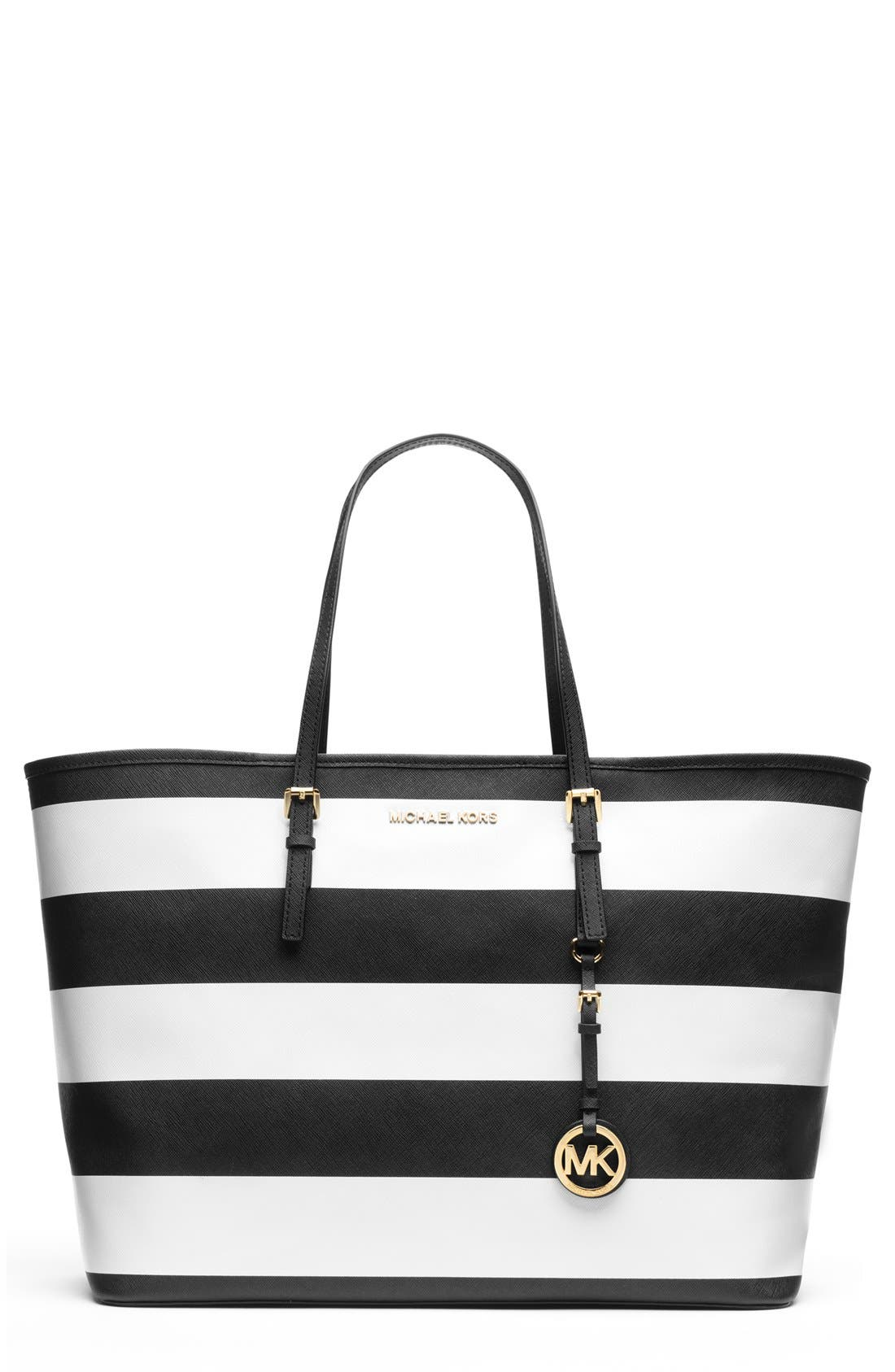 Main Image - MICHAEL Michael Kors 'Medium Jet Set' Saffiano Leather Travel Tote