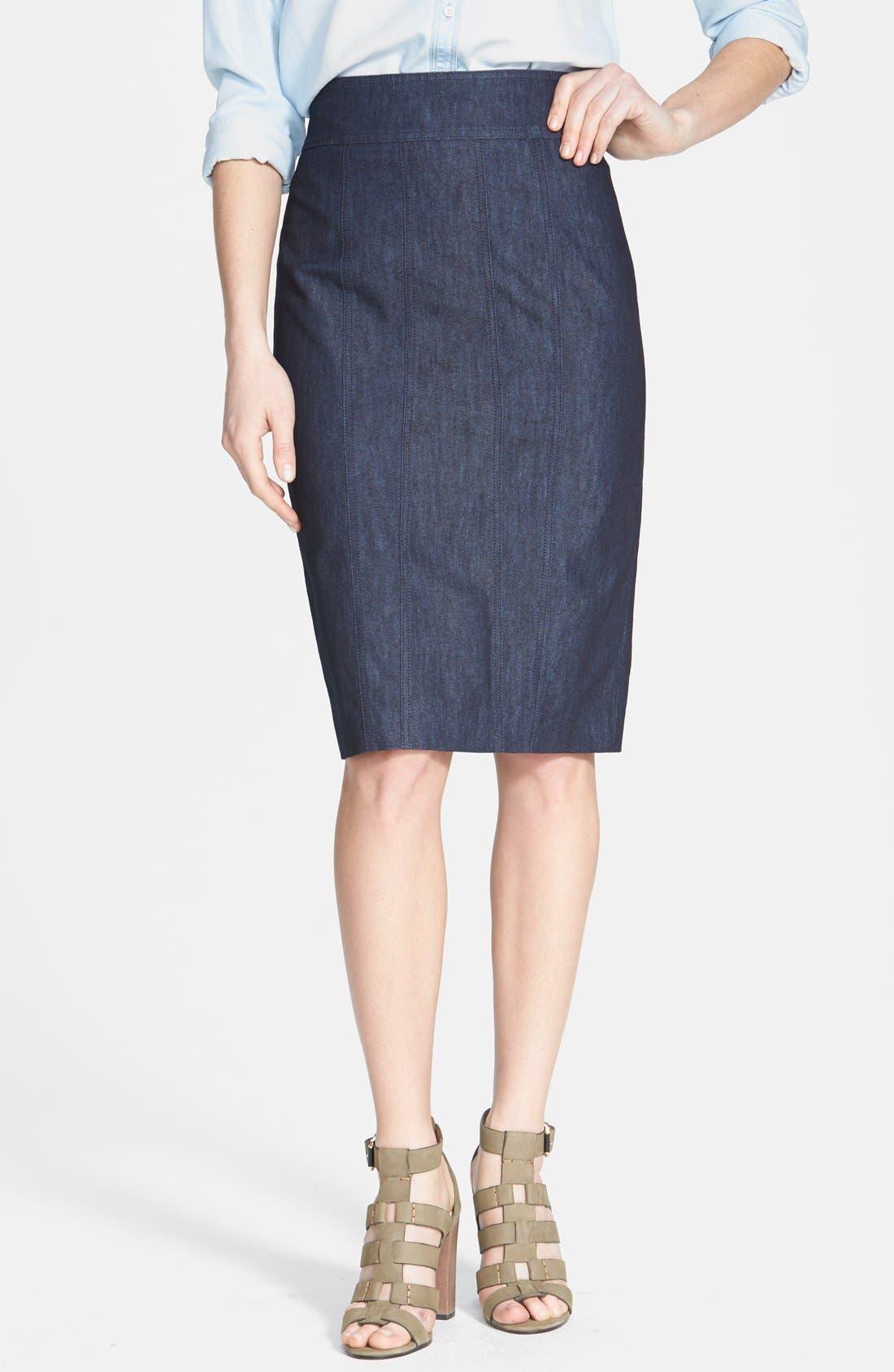 Alternate Image 1 Selected - Halogen® Denim Pencil Skirt
