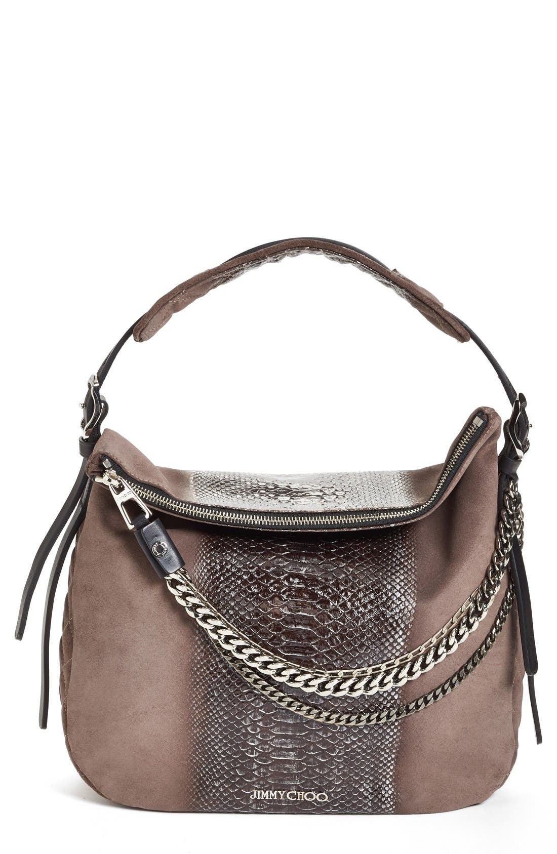 Alternate Image 1 Selected - Jimmy Choo 'Small Boho' Python Print Suede Hobo