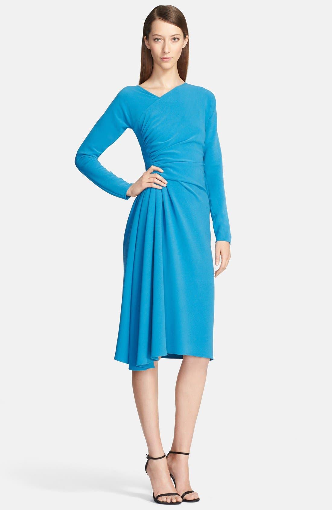 Main Image - St. John Collection Asymmetrical Drape Luxe Crepe Dress