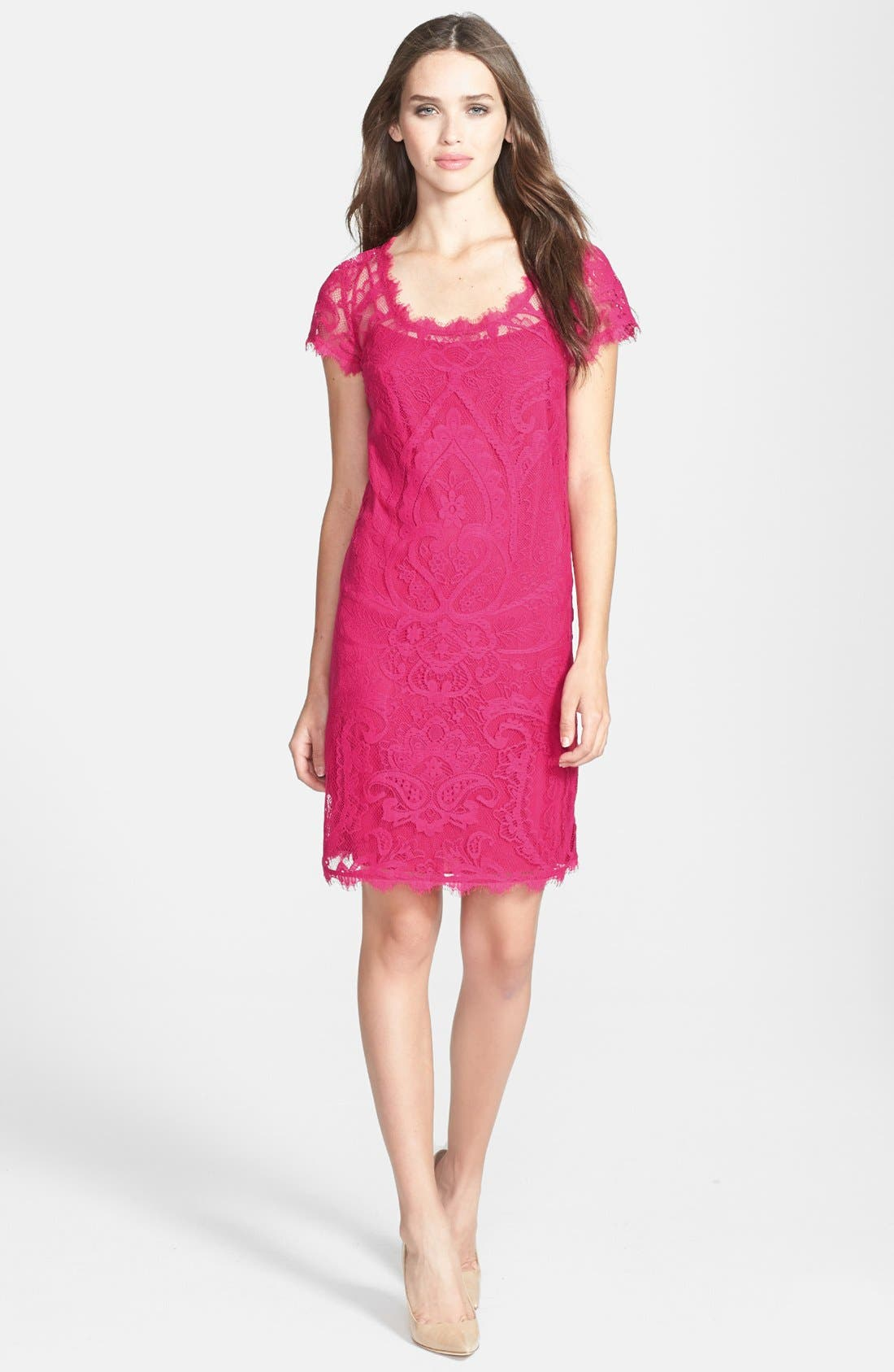 Alternate Image 2  - Nicole Miller Cap Sleeve Lace Dress