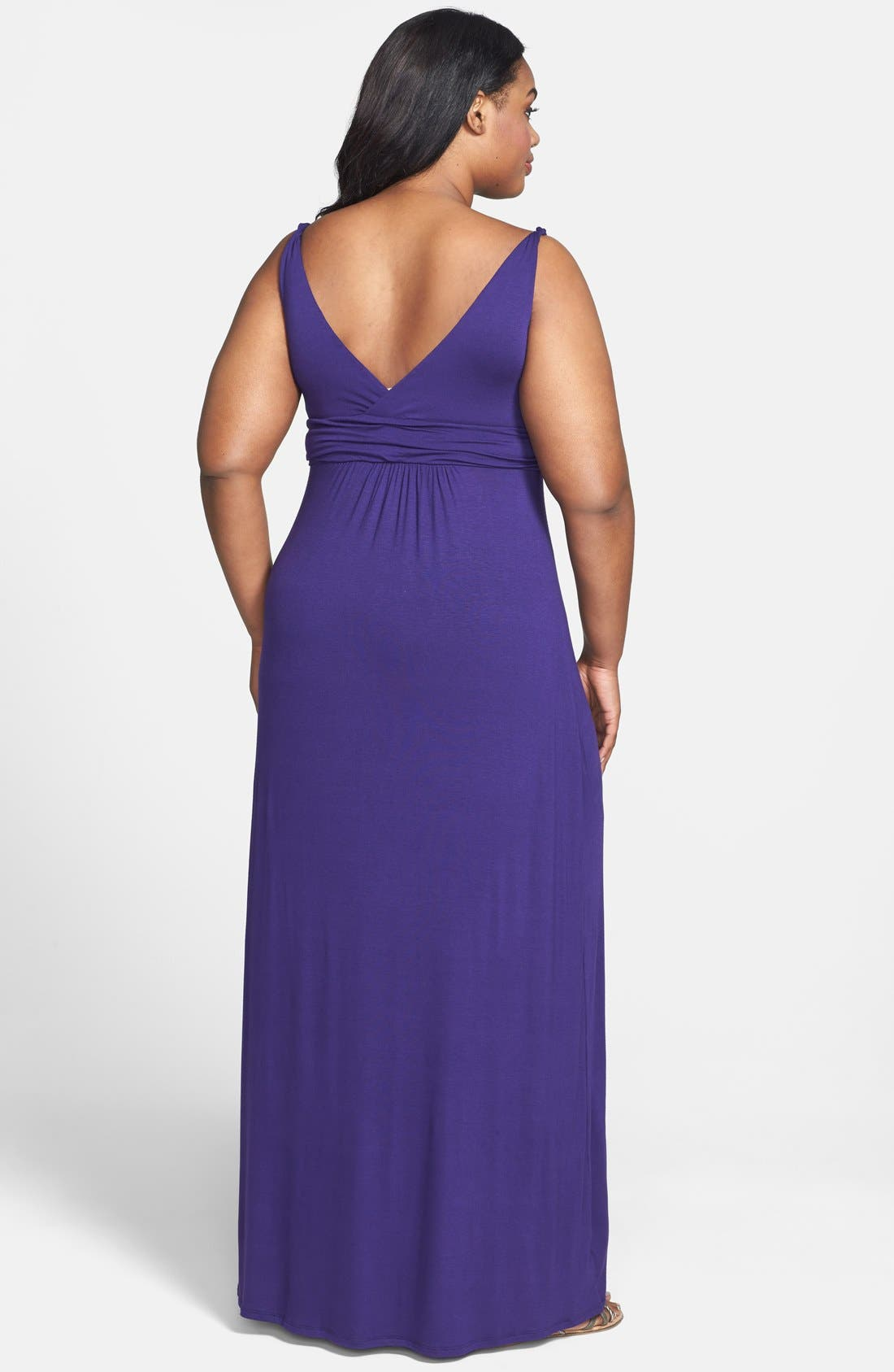 Alternate Image 2  - Loveappella Solid Maxi Dress (Plus Size)