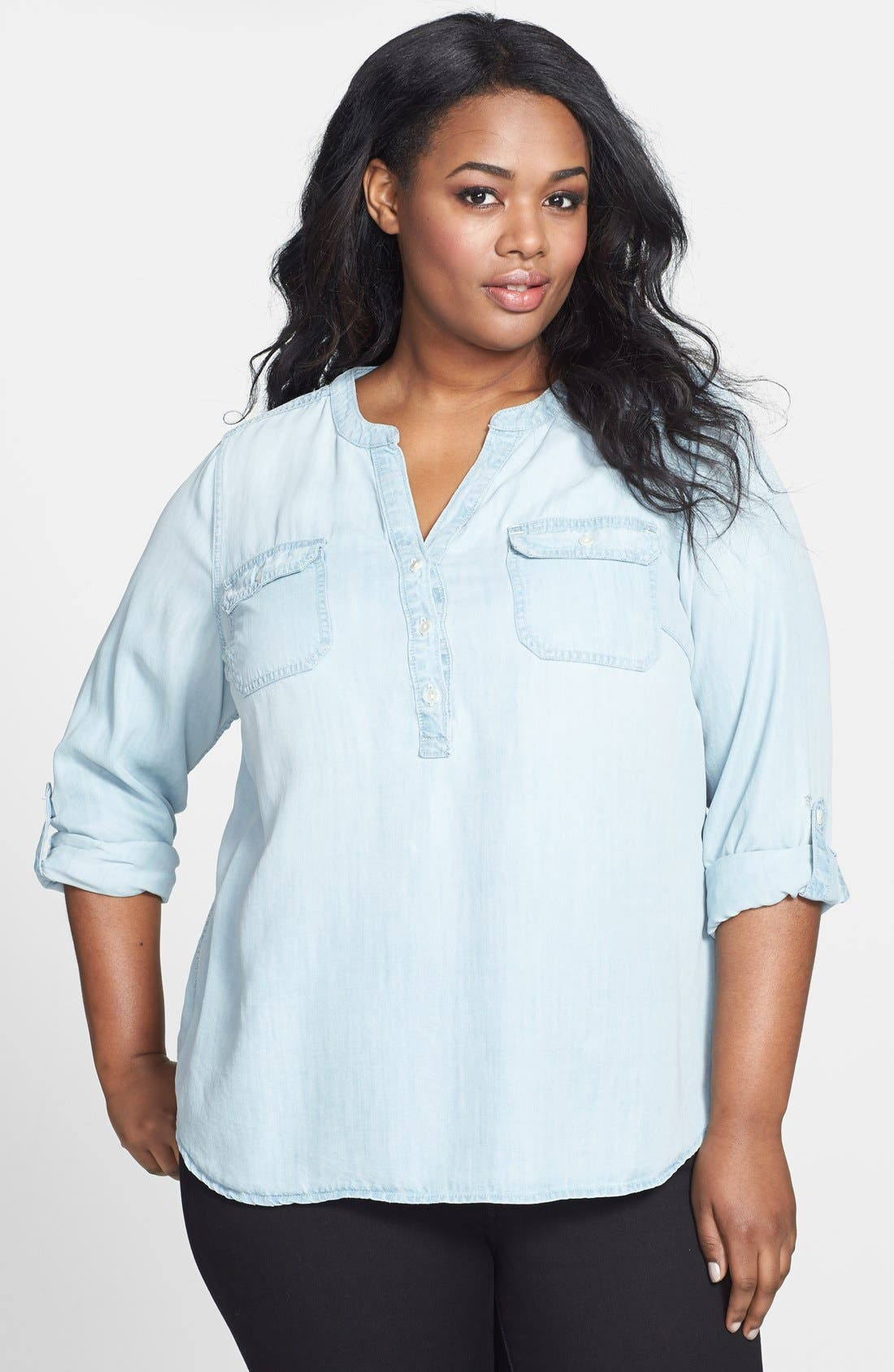 Alternate Image 1 Selected - Lucky Brand Chambray Top (Plus Size)