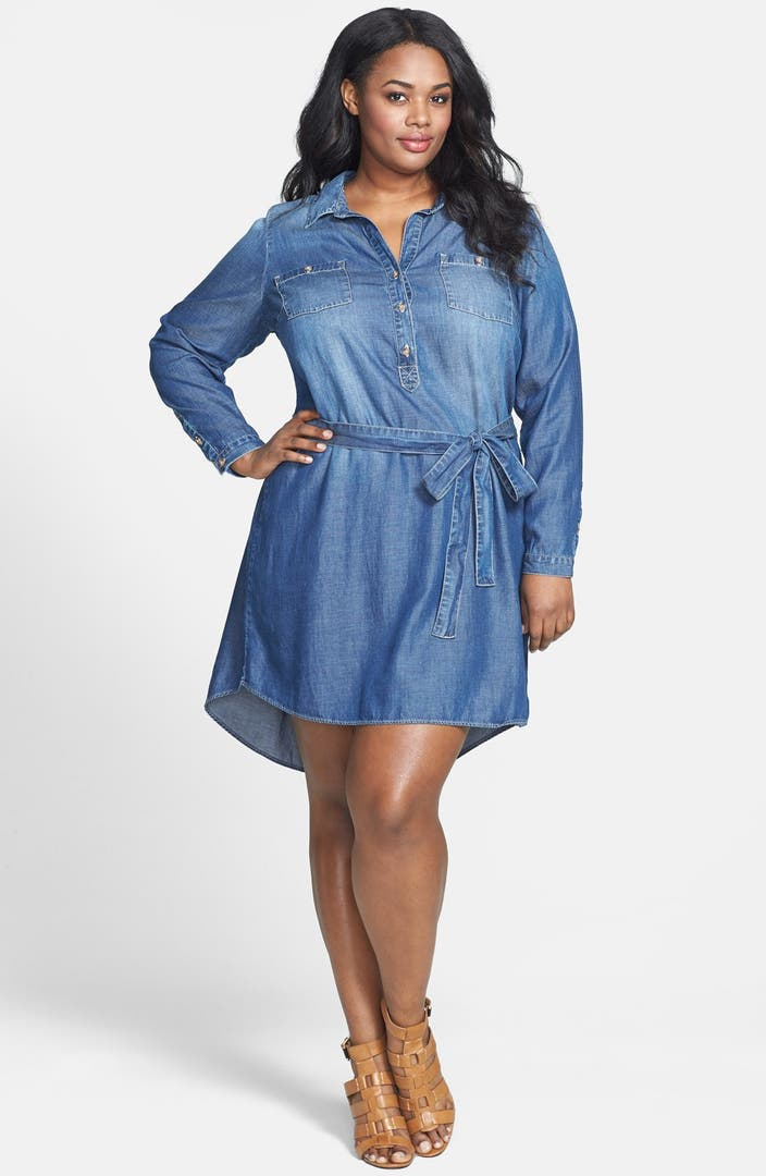Lucky brand popover chambray dress plus size nordstrom for Chambray dress