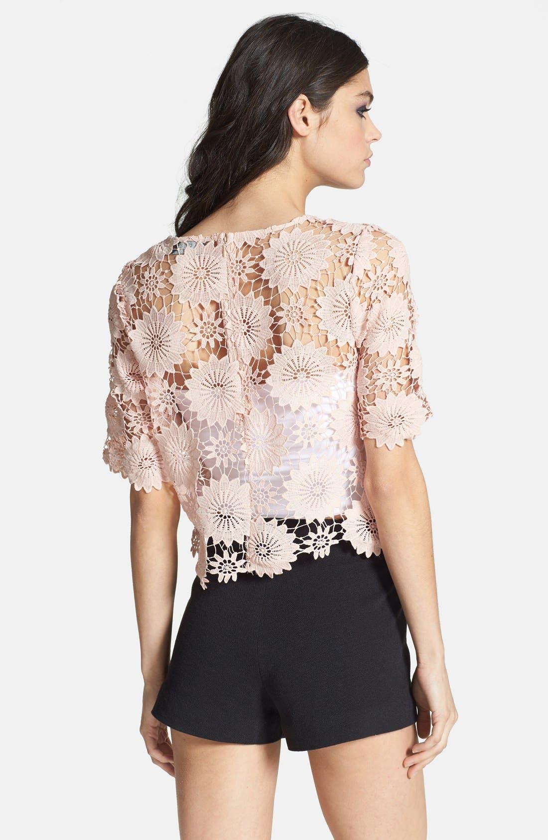 Alternate Image 2  - ASTR Crocheted Floral Crop Top