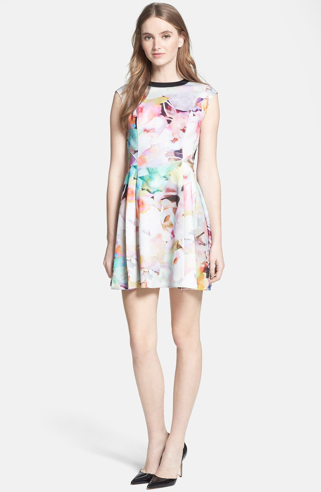 Main Image - Ted Baker London 'Electric Day' Stretch Skater Dress