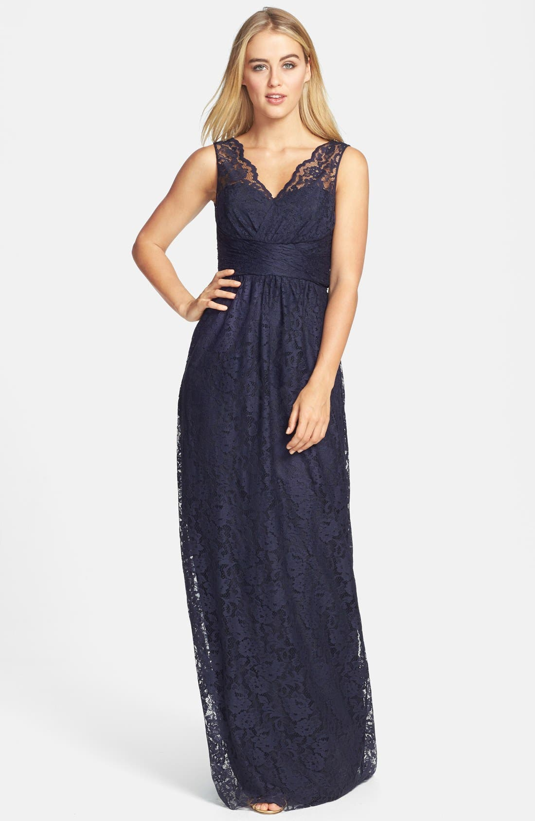 Alternate Image 1 Selected - Amsale Empire Waist Lace Column Gown