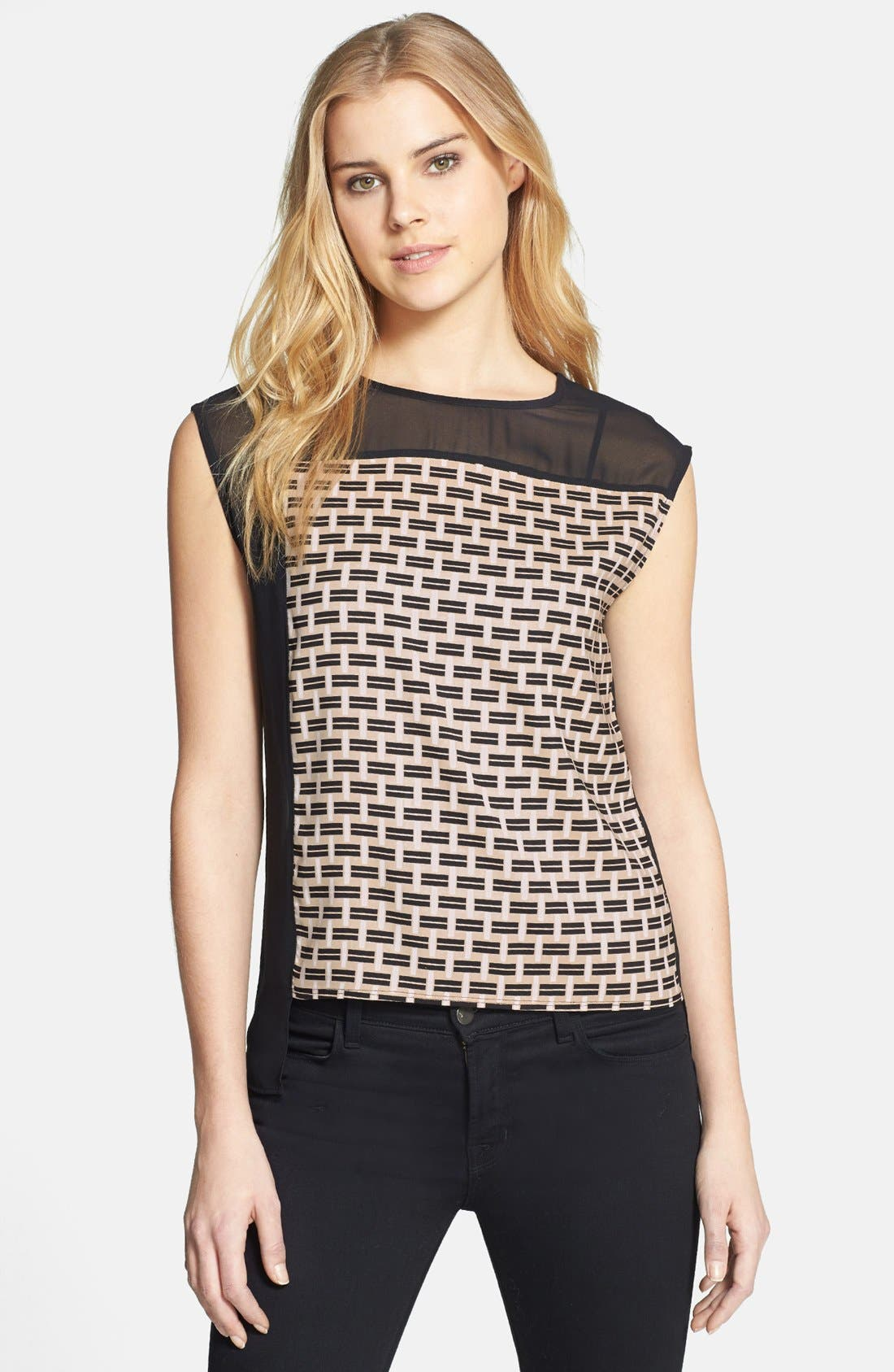 Alternate Image 1 Selected - Vince Camuto 'Graphic Basket' Colorblock Blouse