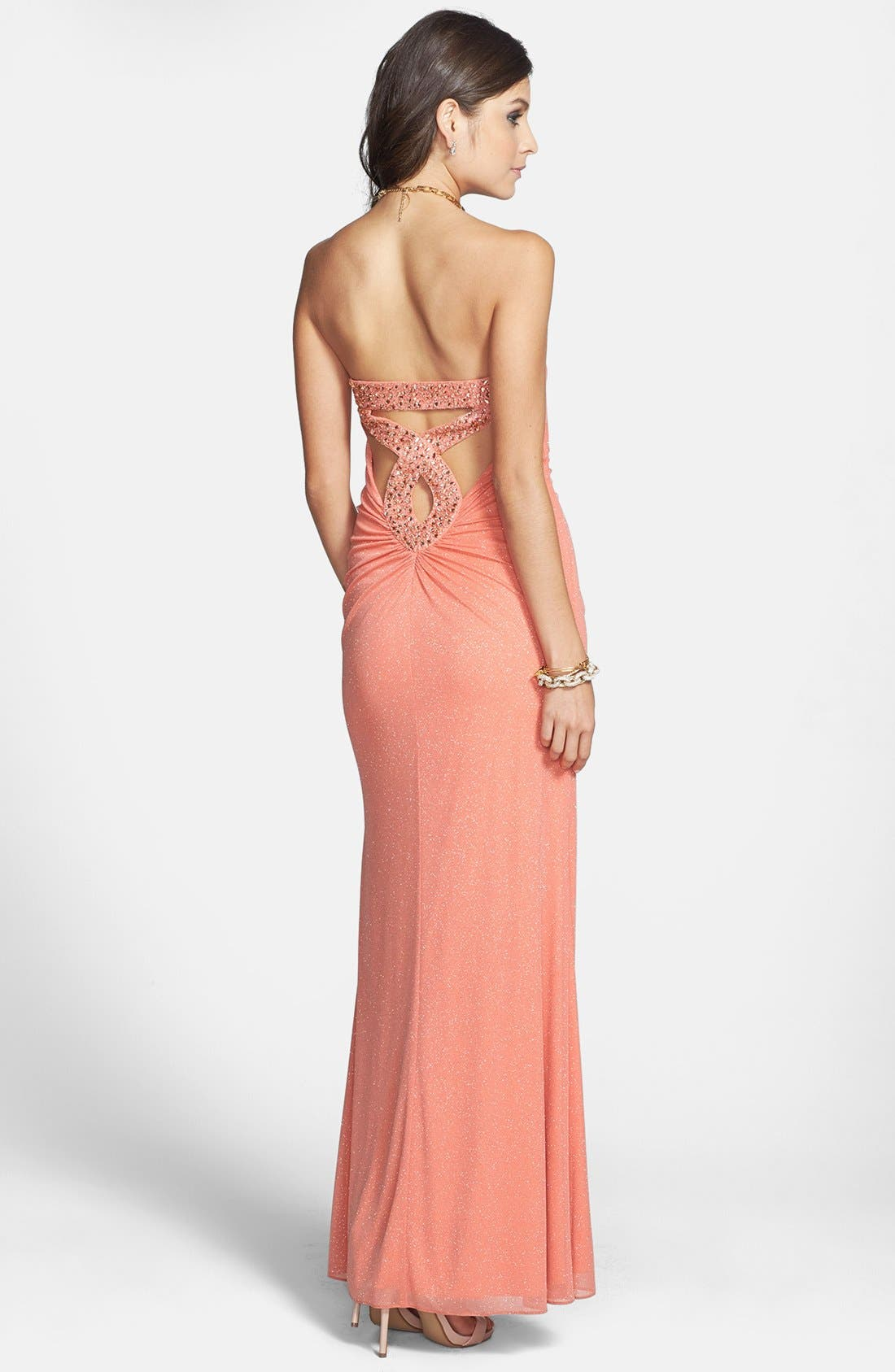 Alternate Image 2  - Hailey Logan Embellished Back Cutout Strapless Gown (Juniors) (Online Only)