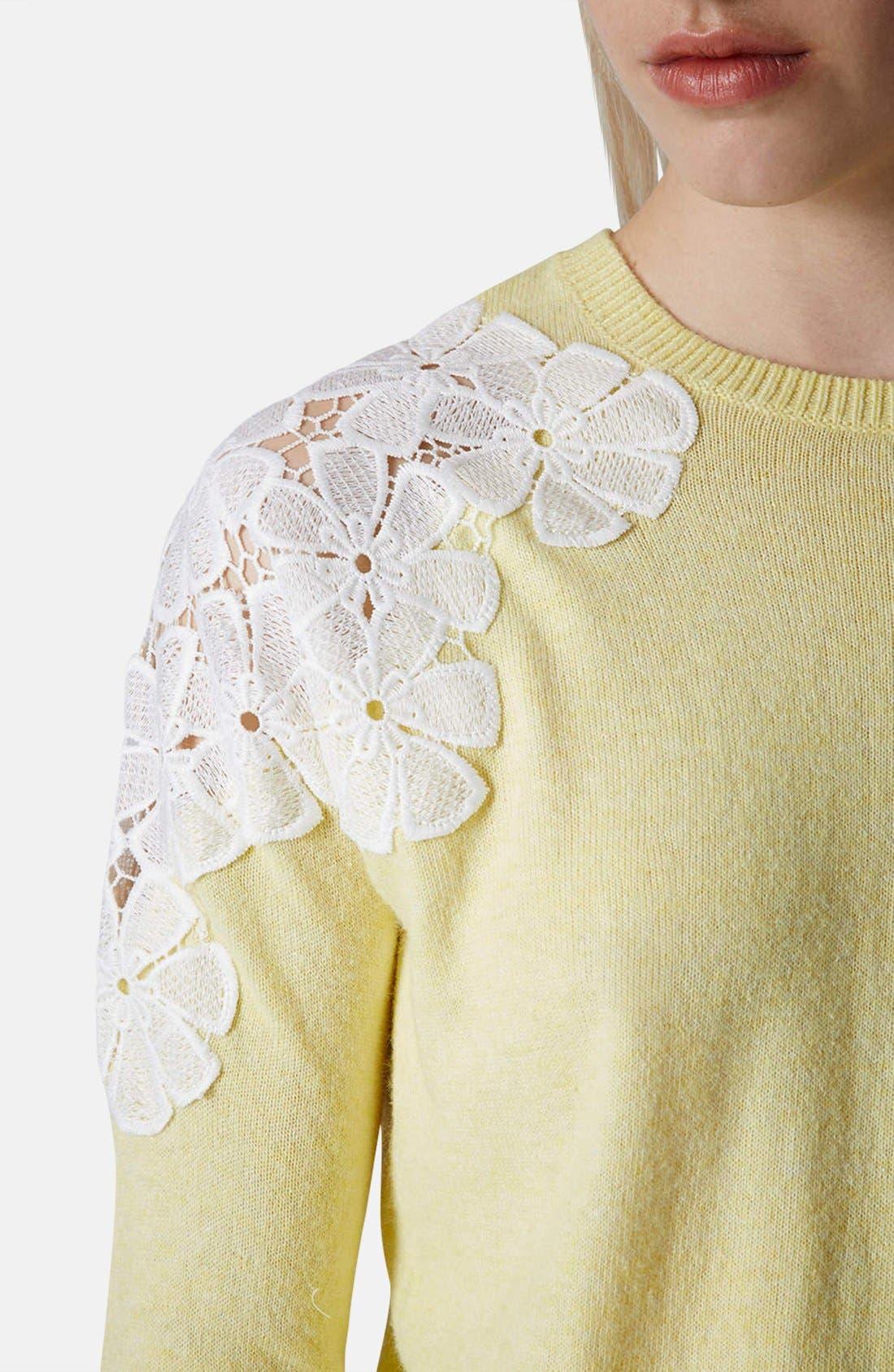 Alternate Image 4  - Topshop Embroidered Shoulder Knit Sweater