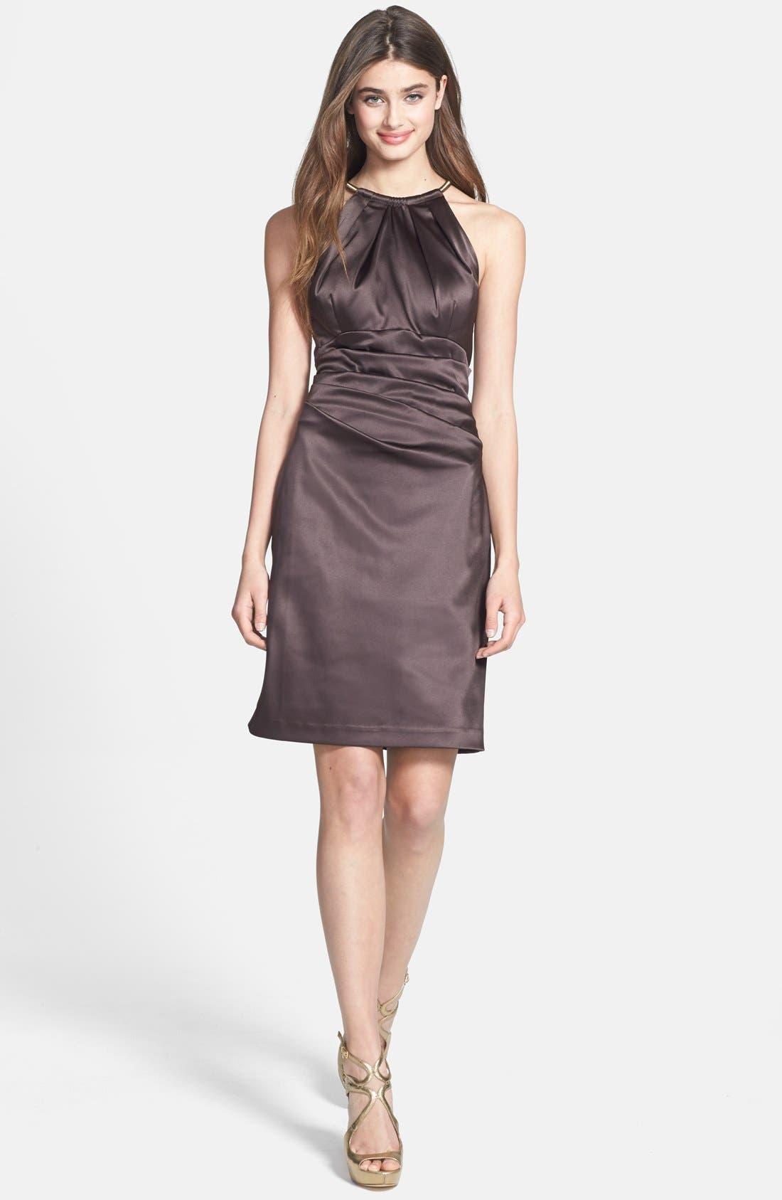 Alternate Image 3  - Eliza J Pleated Satin Sheath Dress