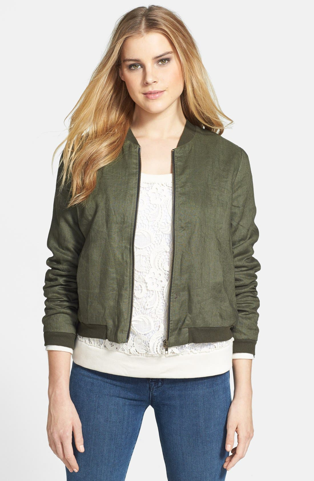Alternate Image 1 Selected - Olivia Moon Linen Bomber Jacket