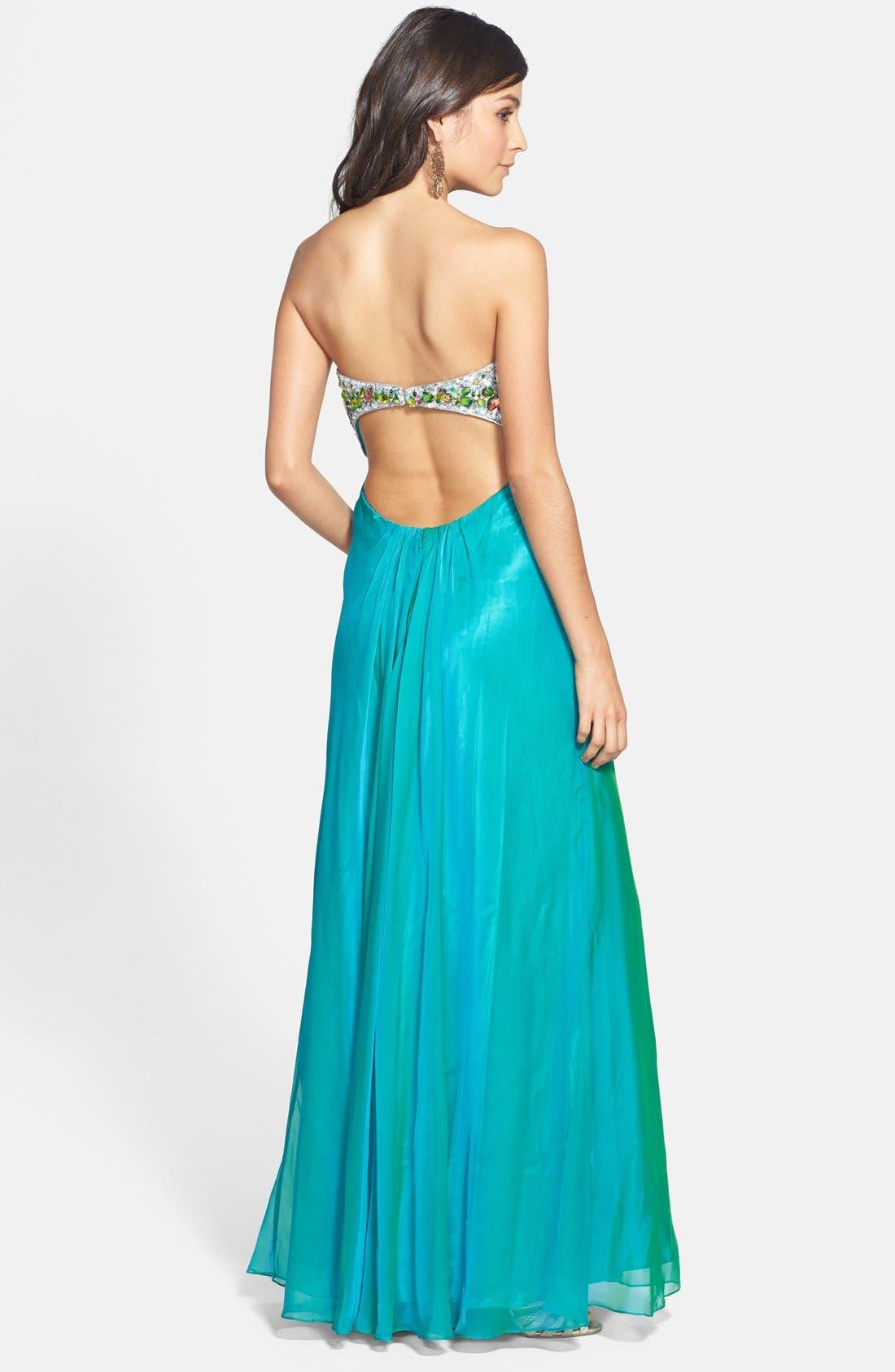 Alternate Image 2  - Faviana Embellished Bodice Chiffon Gown