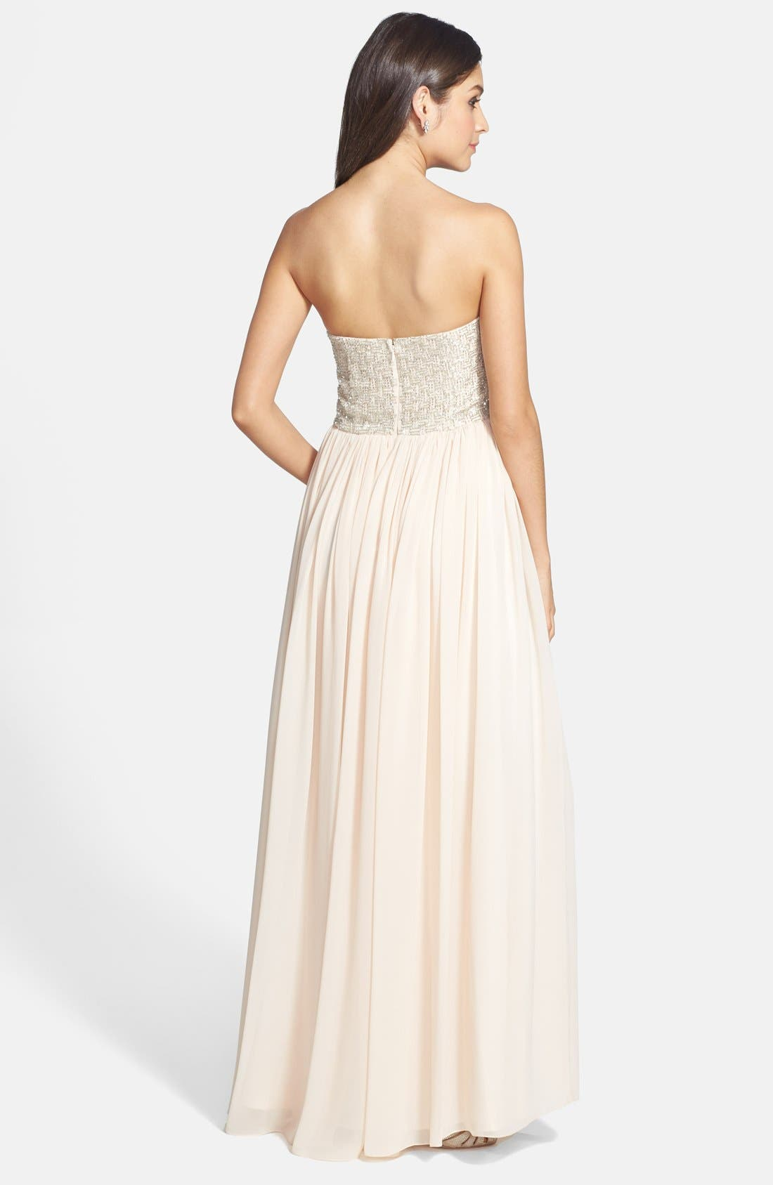 Alternate Image 2  - Aidan Maddox Beaded Bodice Strapless Gown