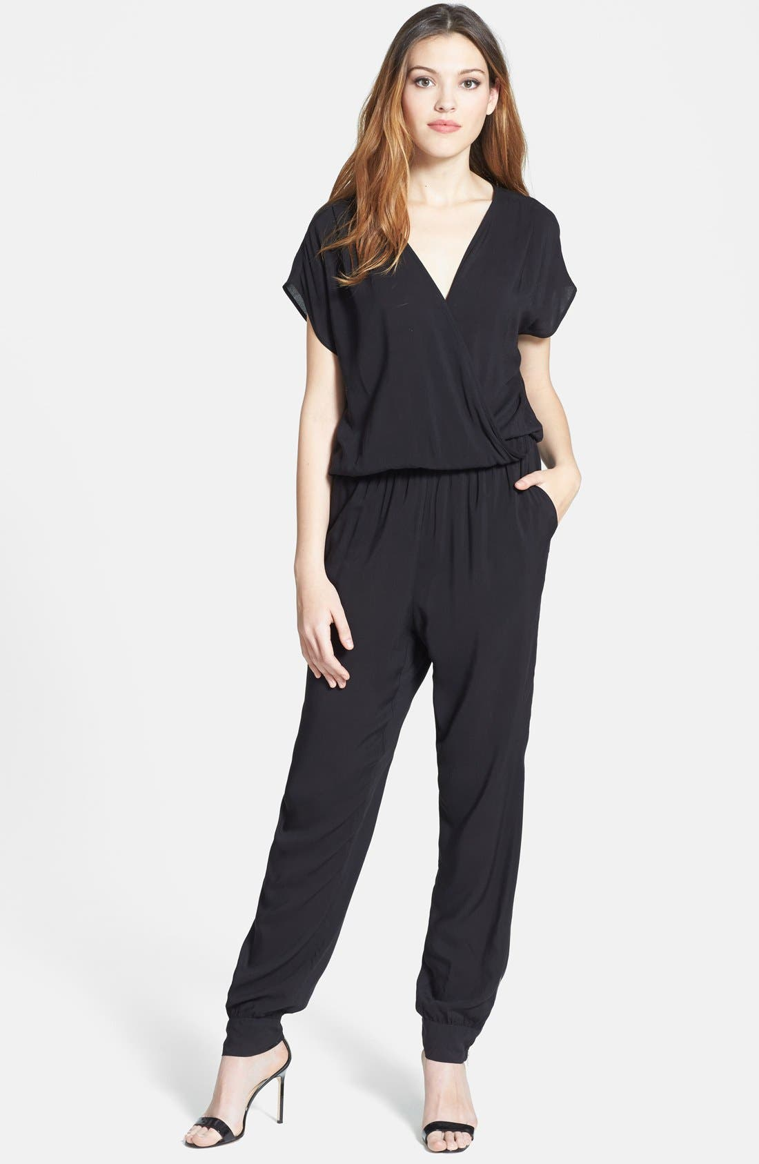 Alternate Image 1 Selected - Olivia Moon Wrap Top Jumpsuit (Regular & Petite)