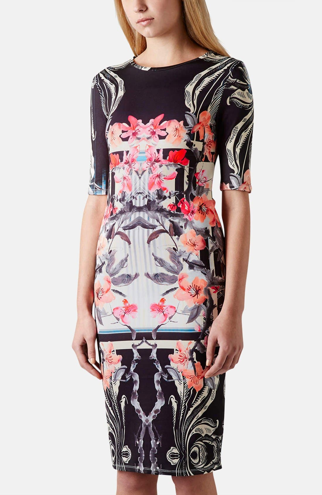 Alternate Image 1 Selected - Topshop 'Orchid Mirror' Print Body-Con Dress