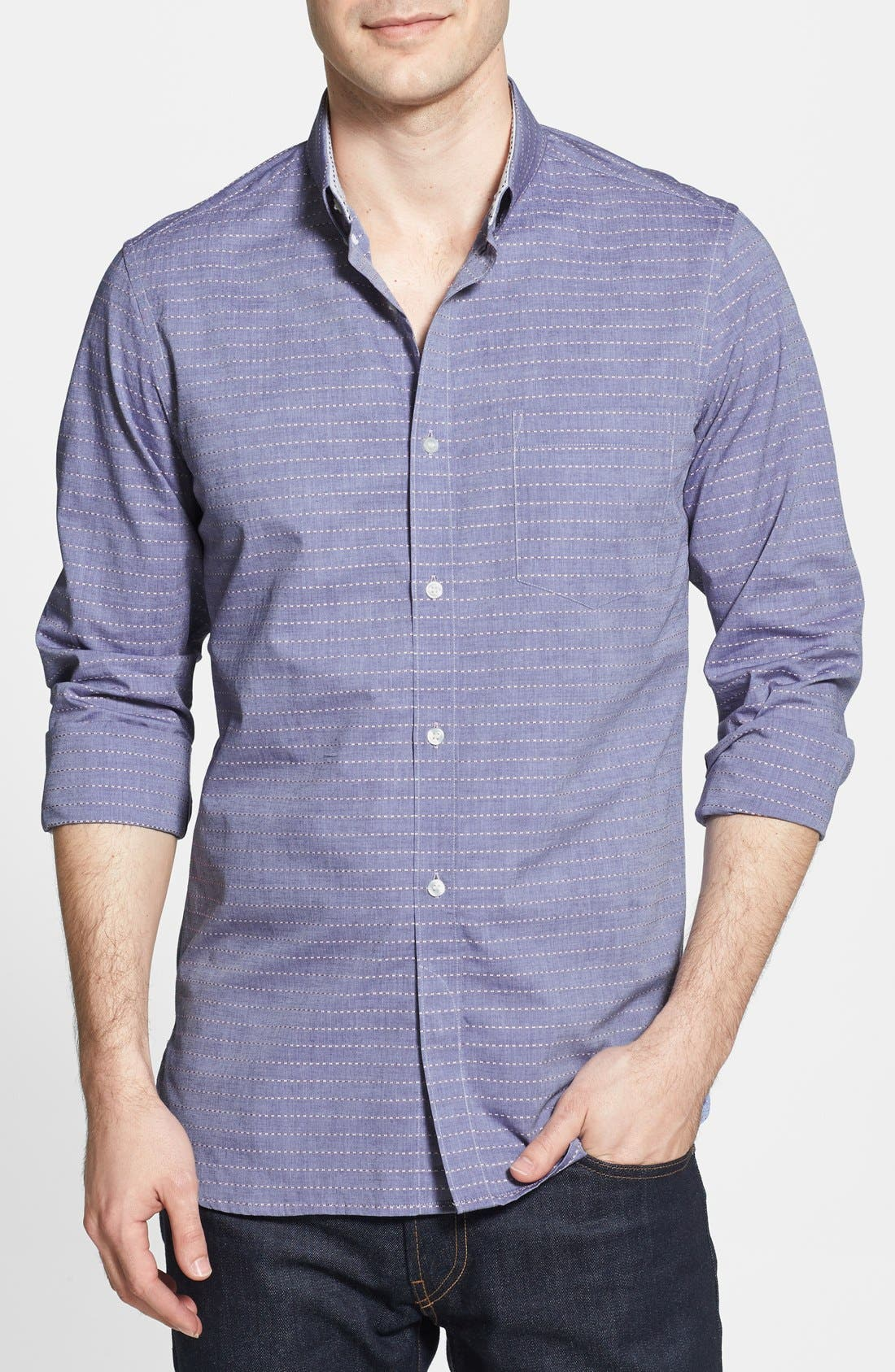 Alternate Image 1 Selected - French Connection 'Folklore' Chambray Slim Fit Sport Shirt