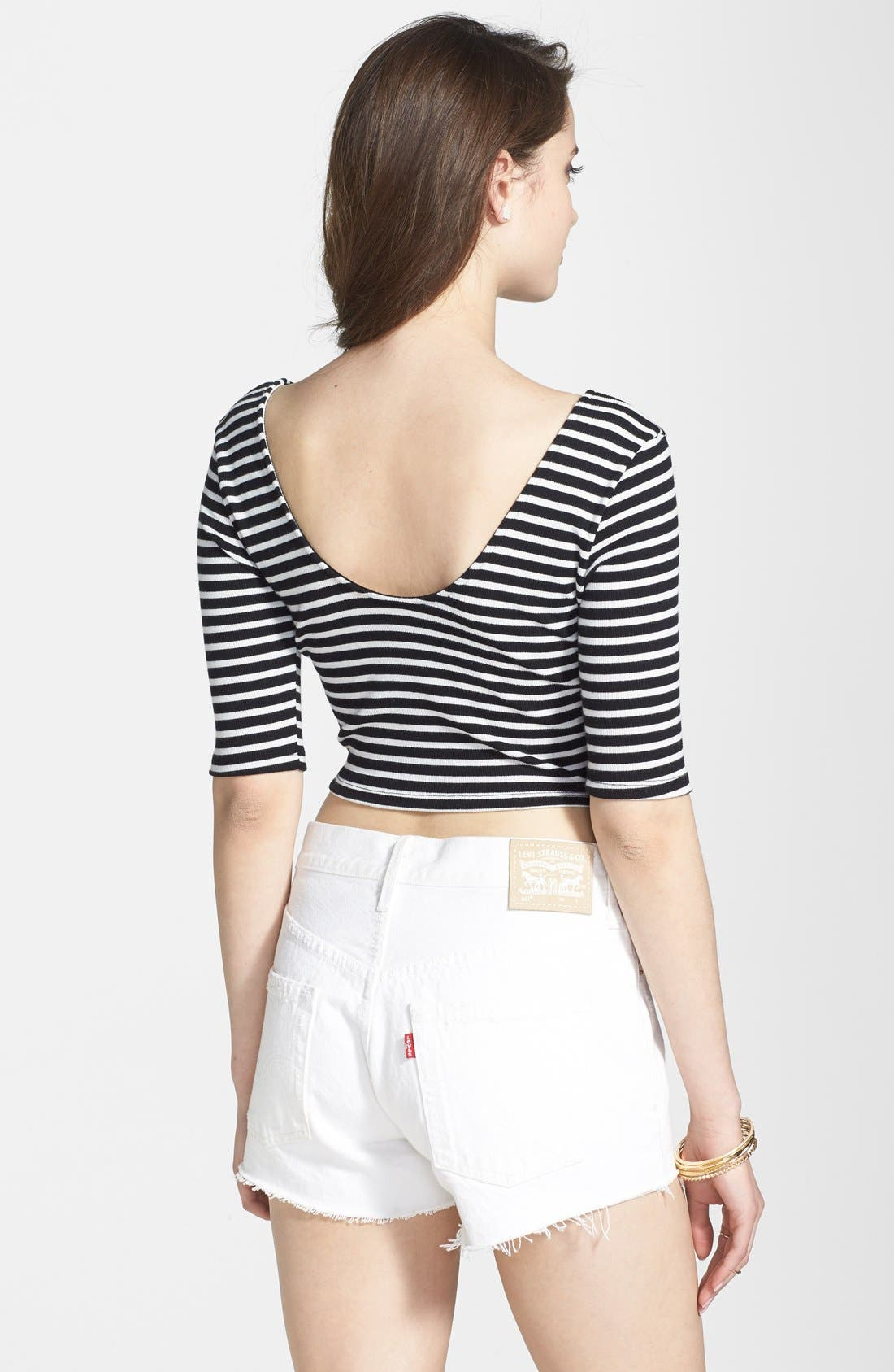 Alternate Image 2  - Volcom 'Out There' Stripe Crop Top (Juniors)