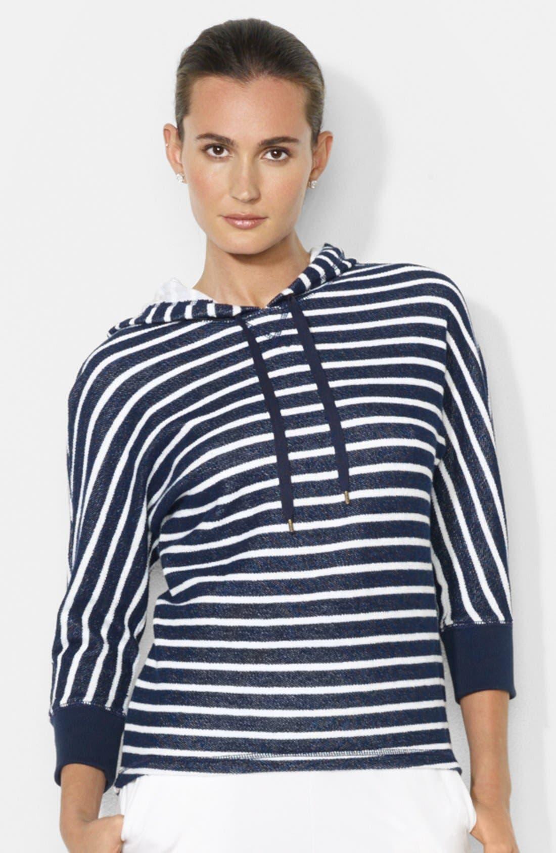 Main Image - Lauren Ralph Lauren Stripe Dolman Sleeve Cotton Hoodie