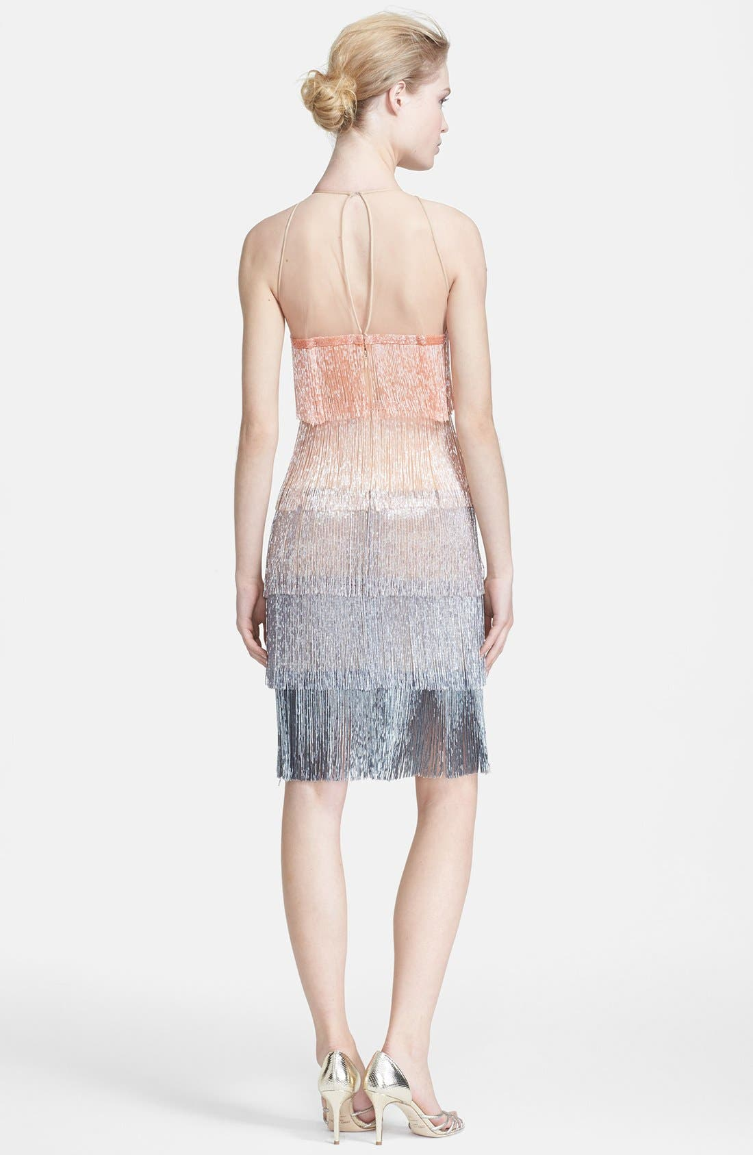 Alternate Image 2  - Naeem Khan Glass Beaded Tiered Fringe Dress