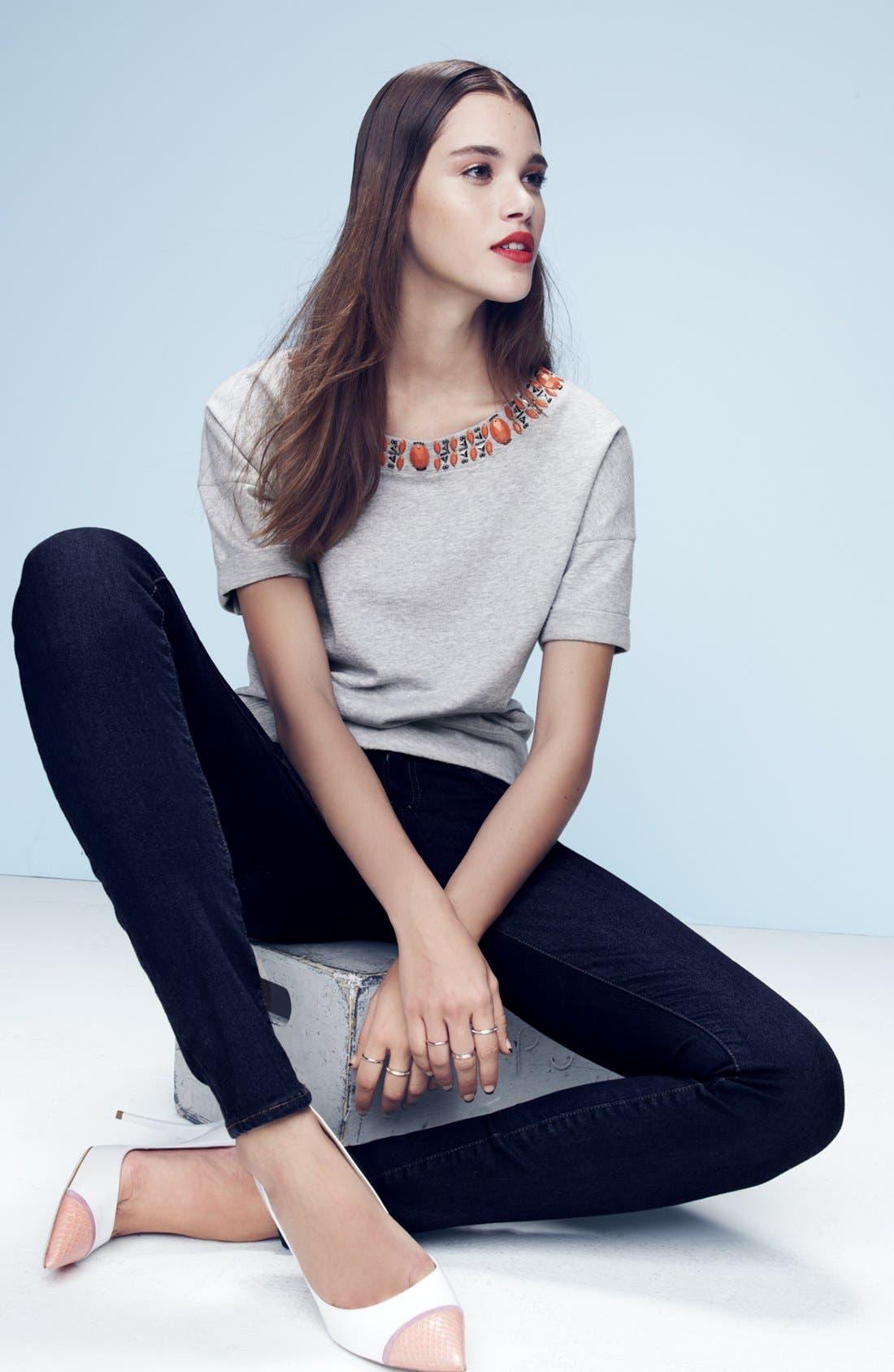 Alternate Image 4  - Halogen® Embellished Sweatshirt (Plus Size)
