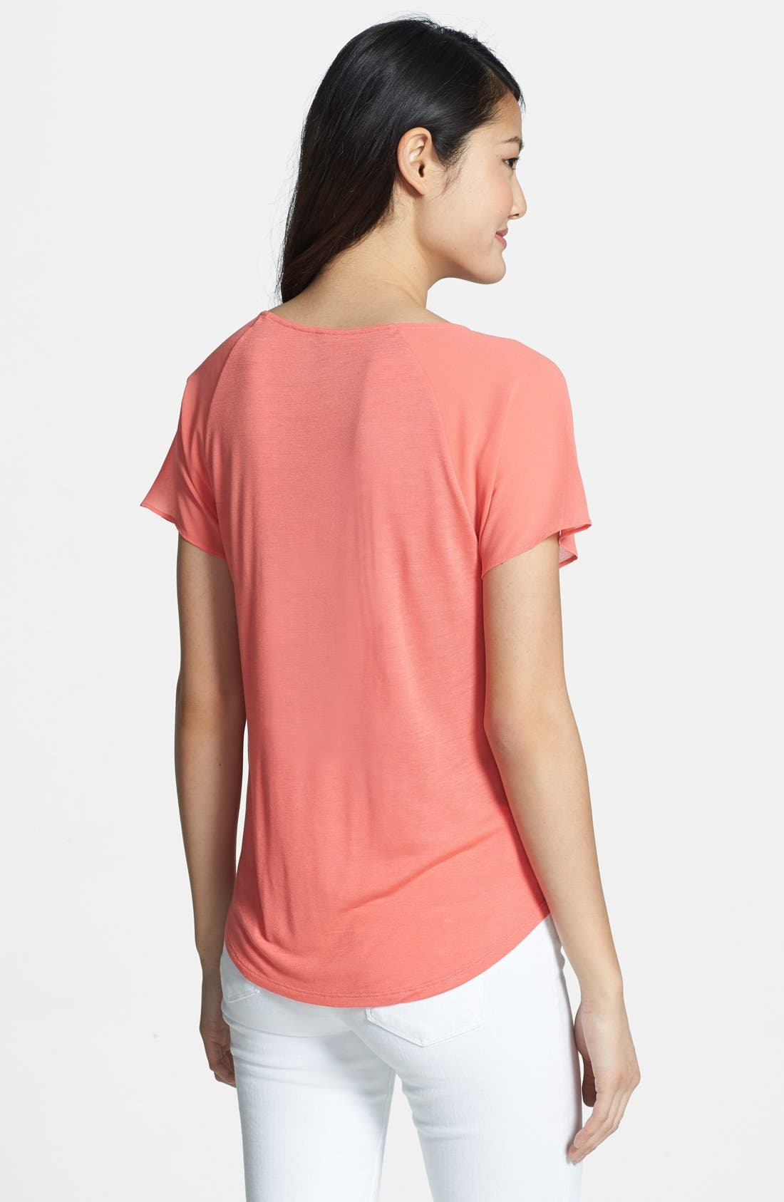 Alternate Image 2  - NYDJ Sheer Yoke Short Sleeve Top