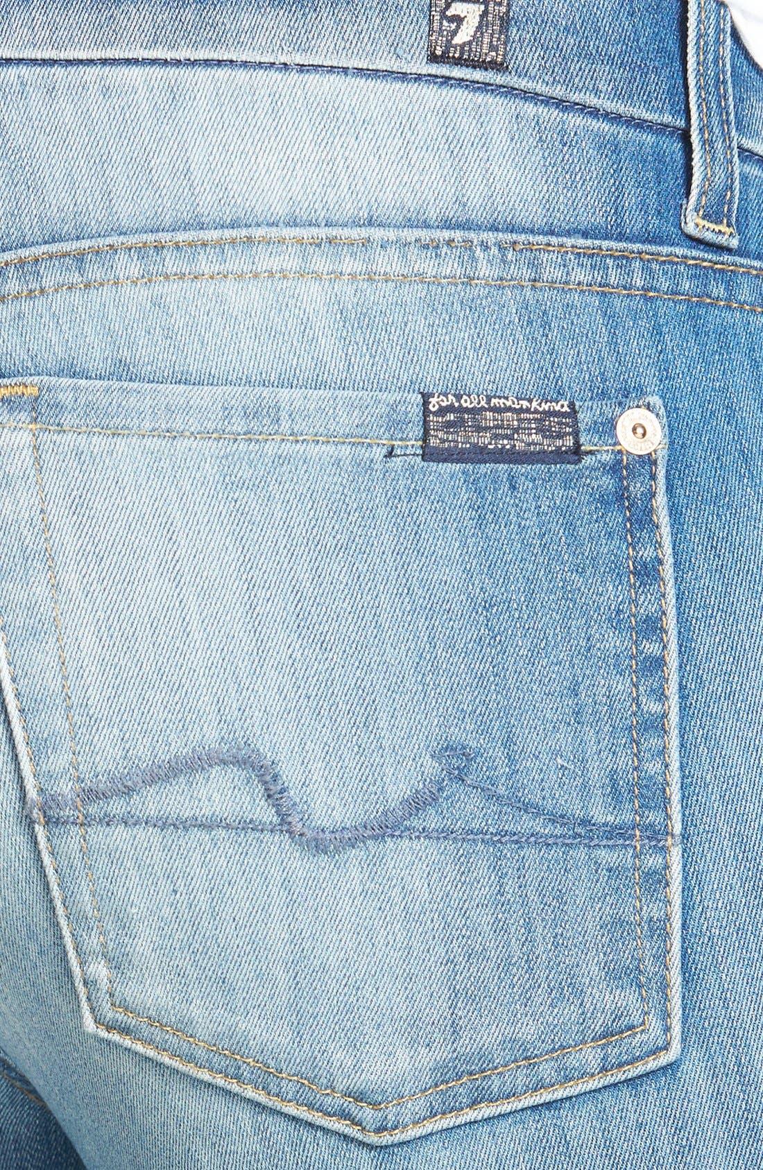 Alternate Image 3  - 7 For All Mankind® 'Kimmie' Crop Skinny Jeans (Light Cobalt Blue)