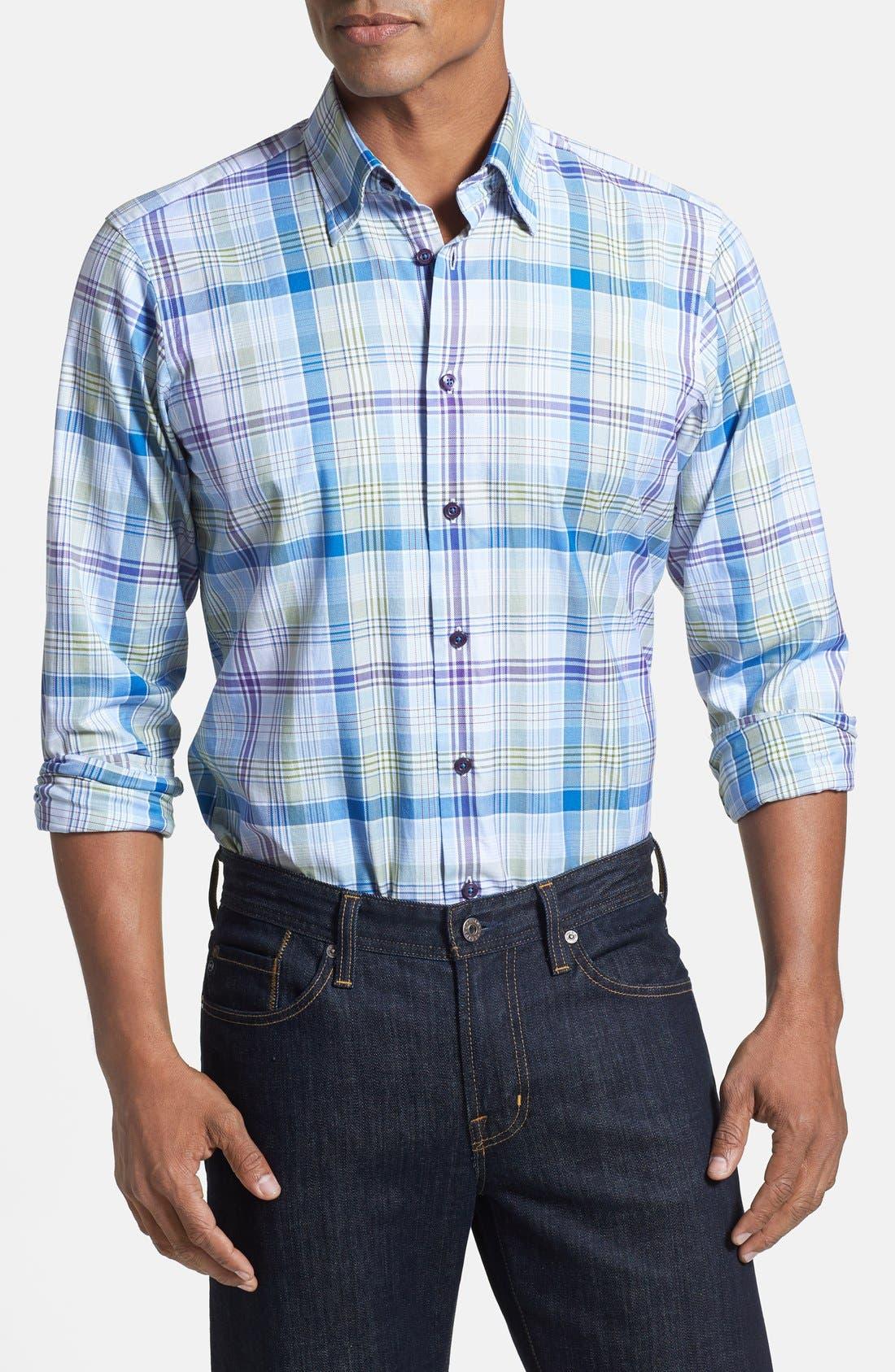 Main Image - Robert Talbott Trim Fit Woven Linen Sport Shirt