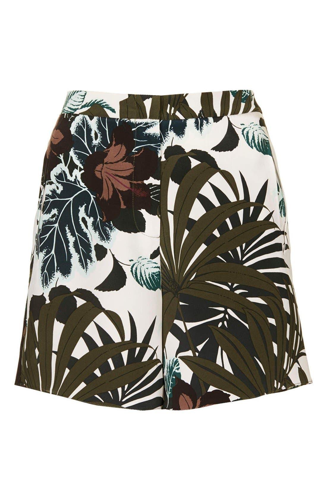 Alternate Image 3  - Topshop Jungle Print Silk Shorts