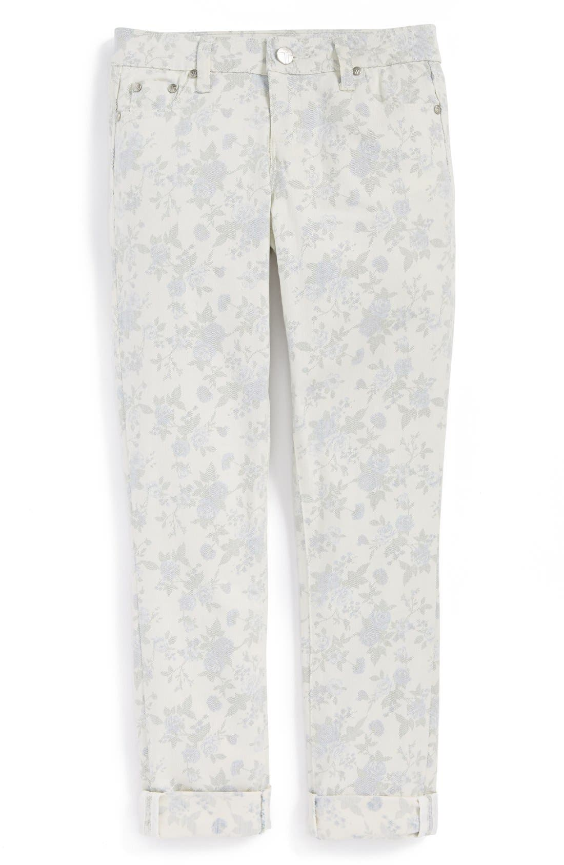 Alternate Image 2  - Tractr Faded Floral Skinny Jeans (Big Girls)
