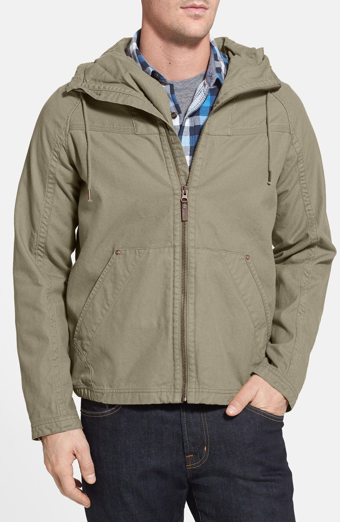 Main Image - Timberland Coated Canvas Bomber Jacket (Online Only)