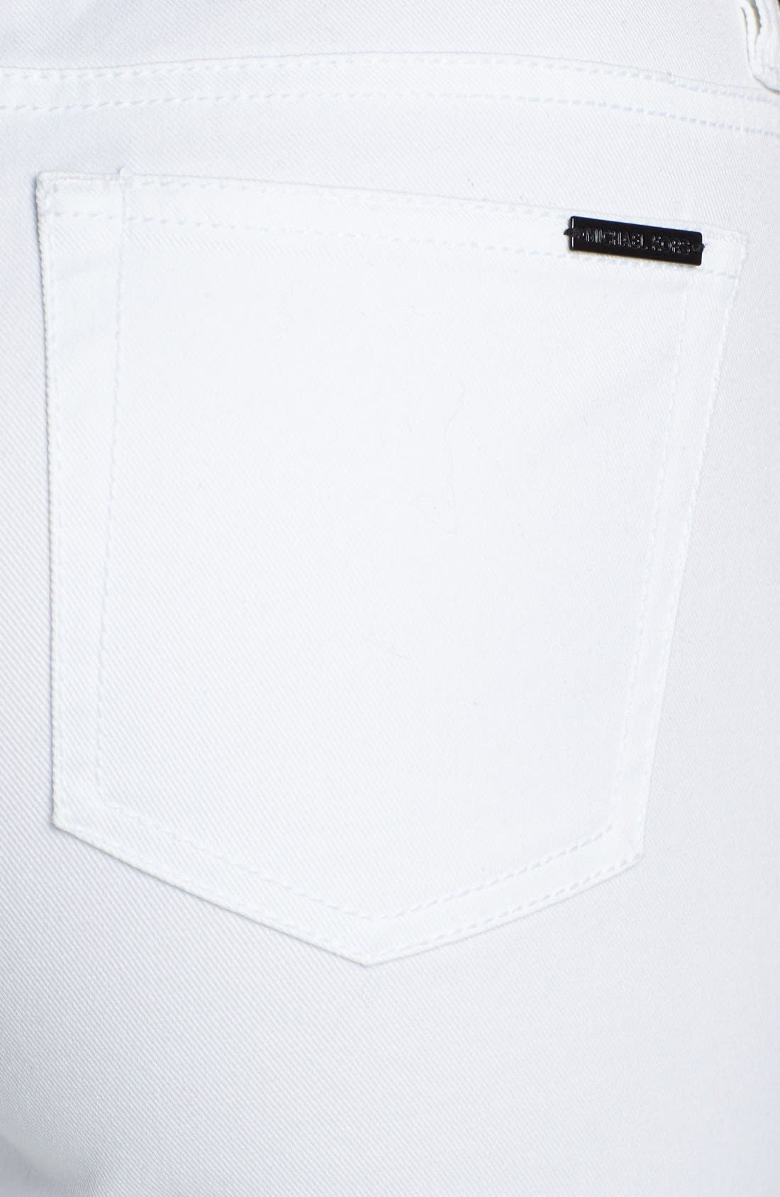 Alternate Image 3  - MICHAEL Michael Kors Contrast Trim Skinny Jeans (White)