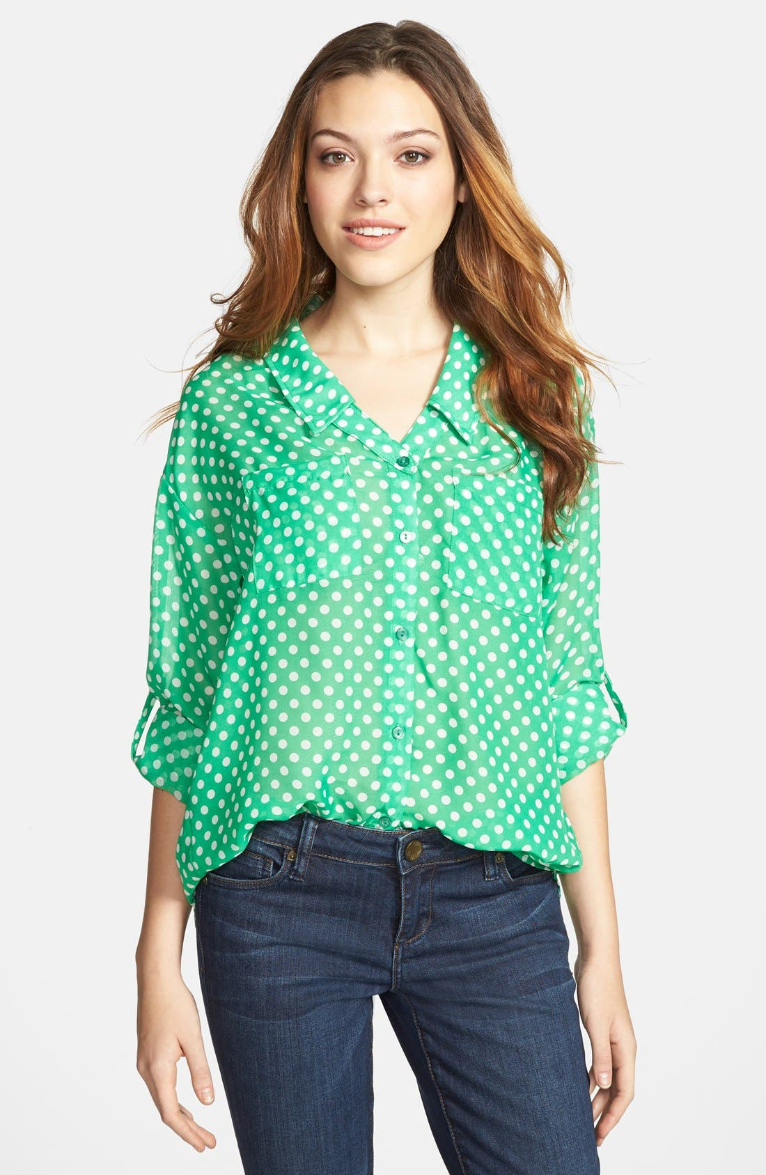 Main Image - KUT from the Kloth Polka Dot Roll Sleeve Blouse
