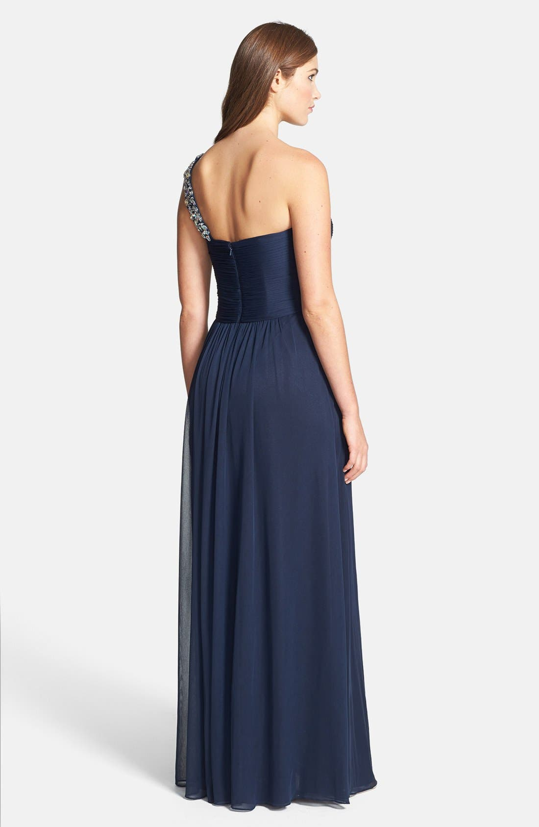 Alternate Image 2  - Xscape Beaded One-Shoulder Sheer Jersey Gown